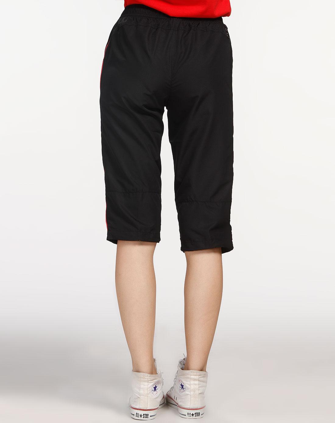 安踏anta女装专场-女款黑色/桃红色七分裤
