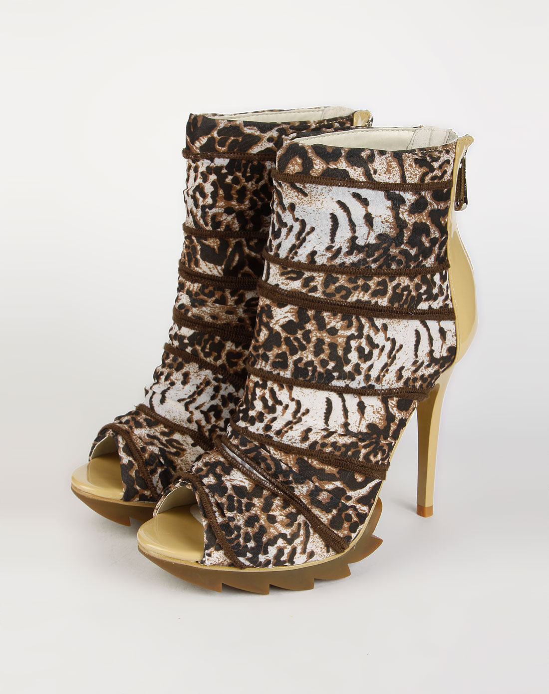 棕色印花后拉链高跟凉鞋