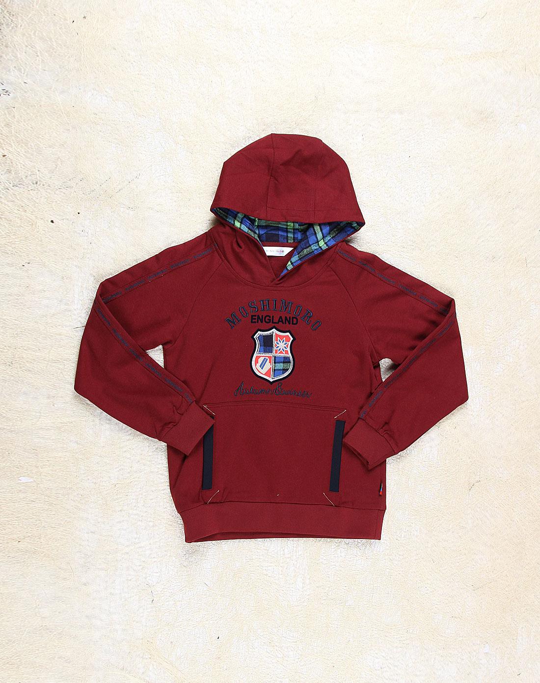 麻希玛柔moshimoro男女童混合专场-男童暗红色针织个性长袖卫衣