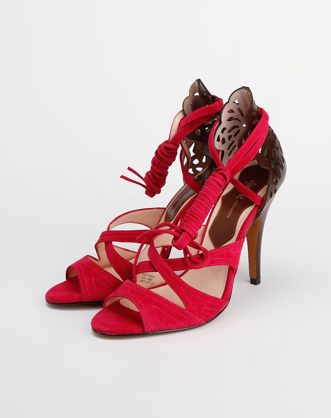 啡/玫红色时尚绒面高跟凉鞋