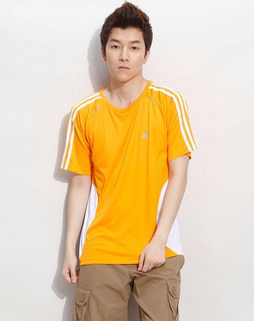 阿迪达斯adidas男装专场橙色运动短袖t恤