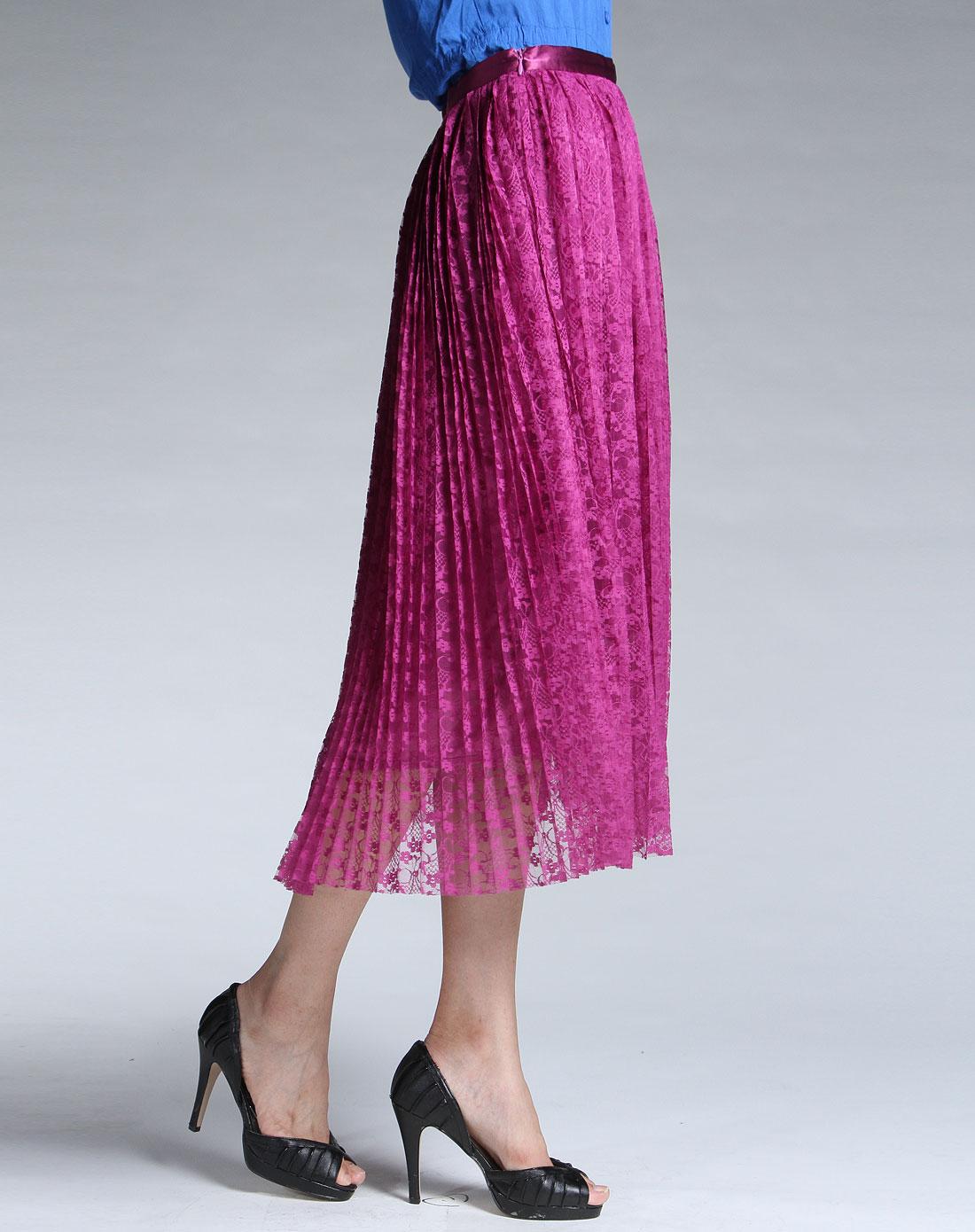 葡萄紫色蕾丝长裙图片
