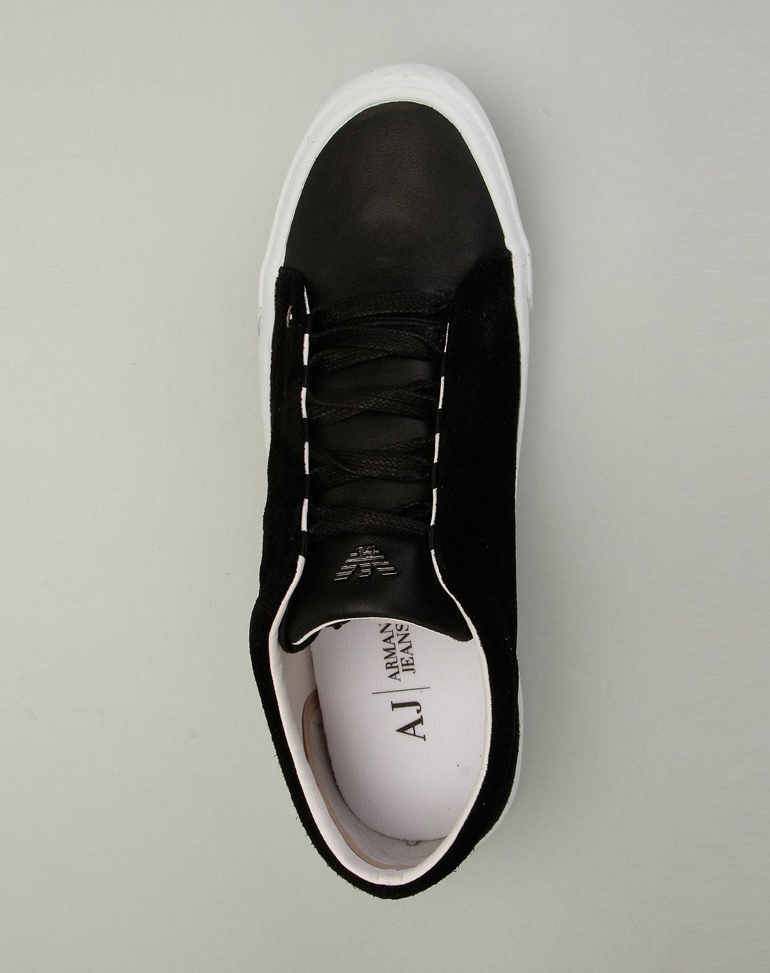 armani鞋子专场aj男款名品生活拼料真皮休闲鞋黑色