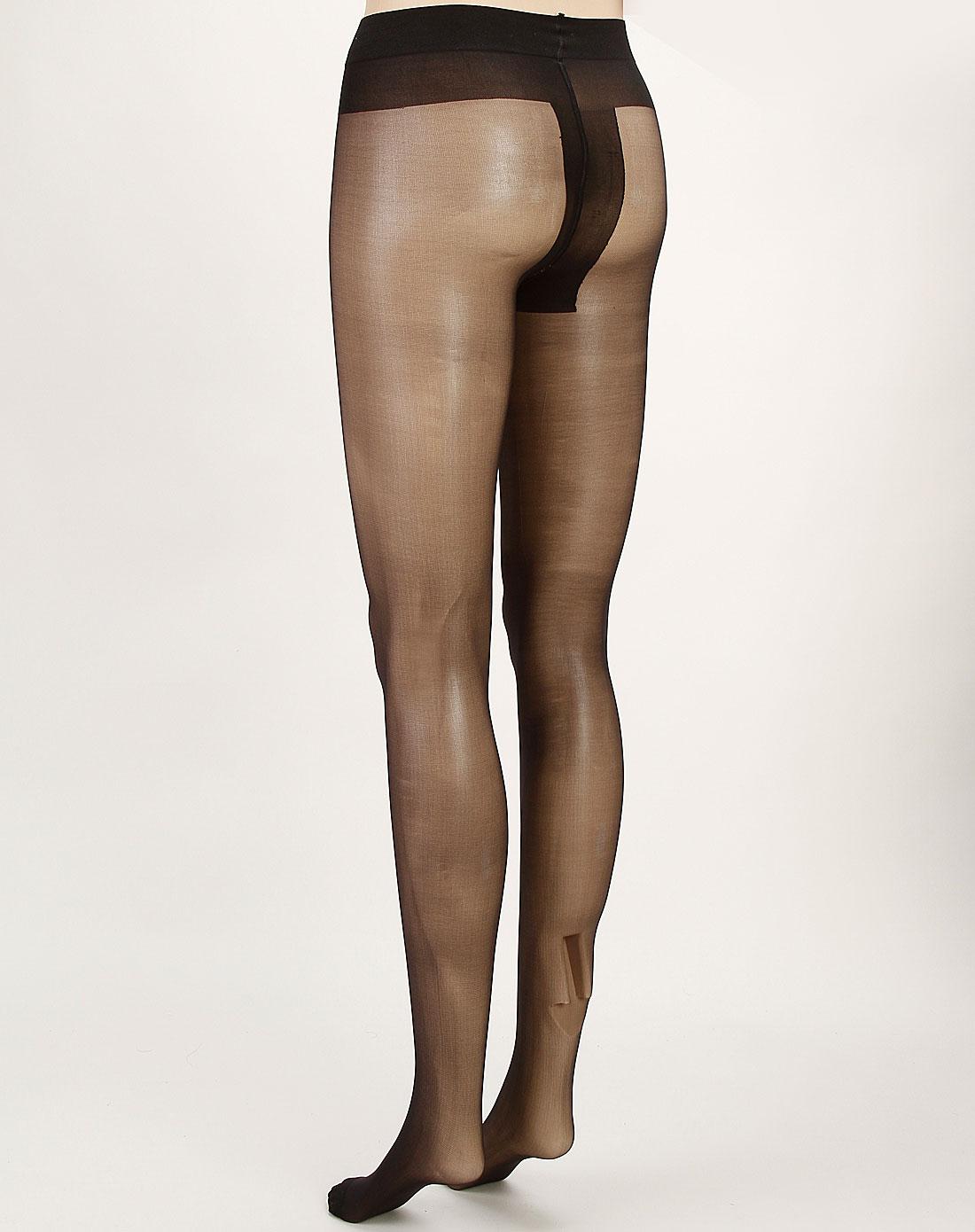 寓美女款黑色t形裆天鹅绒连裤袜4851001