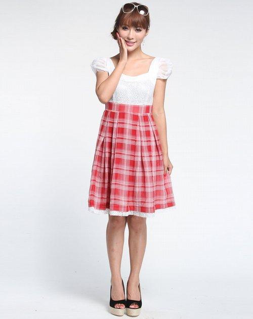简画gea ave女装专场红色时尚短袖连衣裙