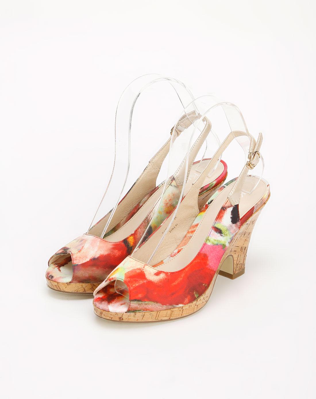 kisscat红/彩色鱼嘴凉鞋