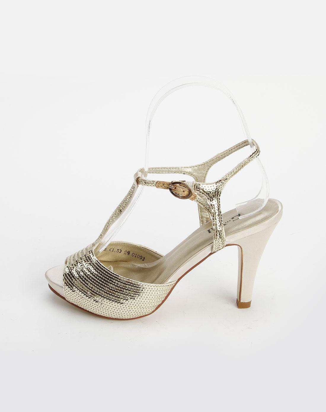 金色优雅镶片高跟凉鞋