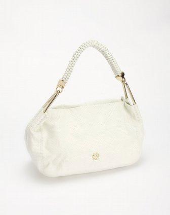 白色菱格时尚纹单肩包 米度MIDO官网特价2.2图片