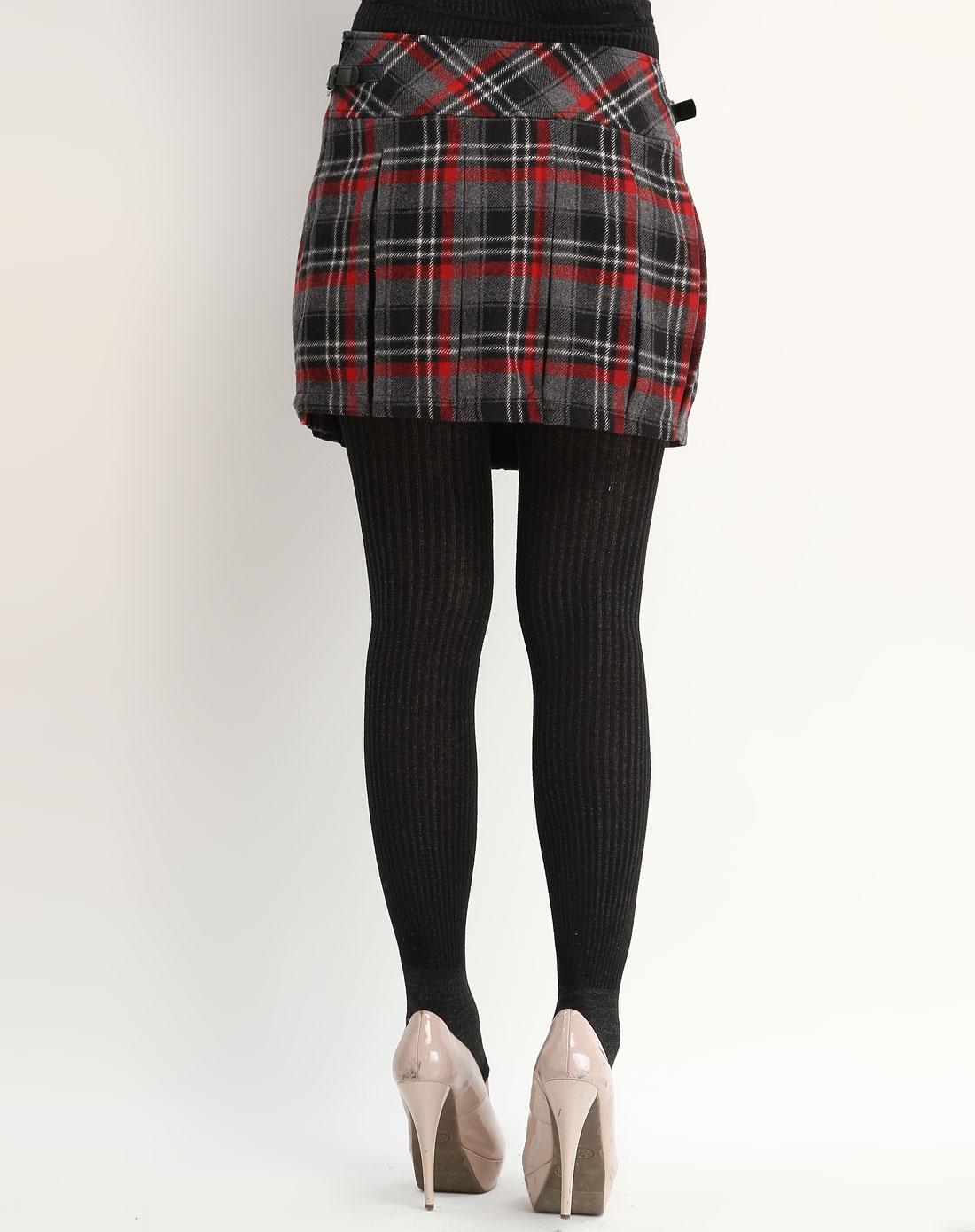 中中J-JONG红色格子毛呢短裙134008-16