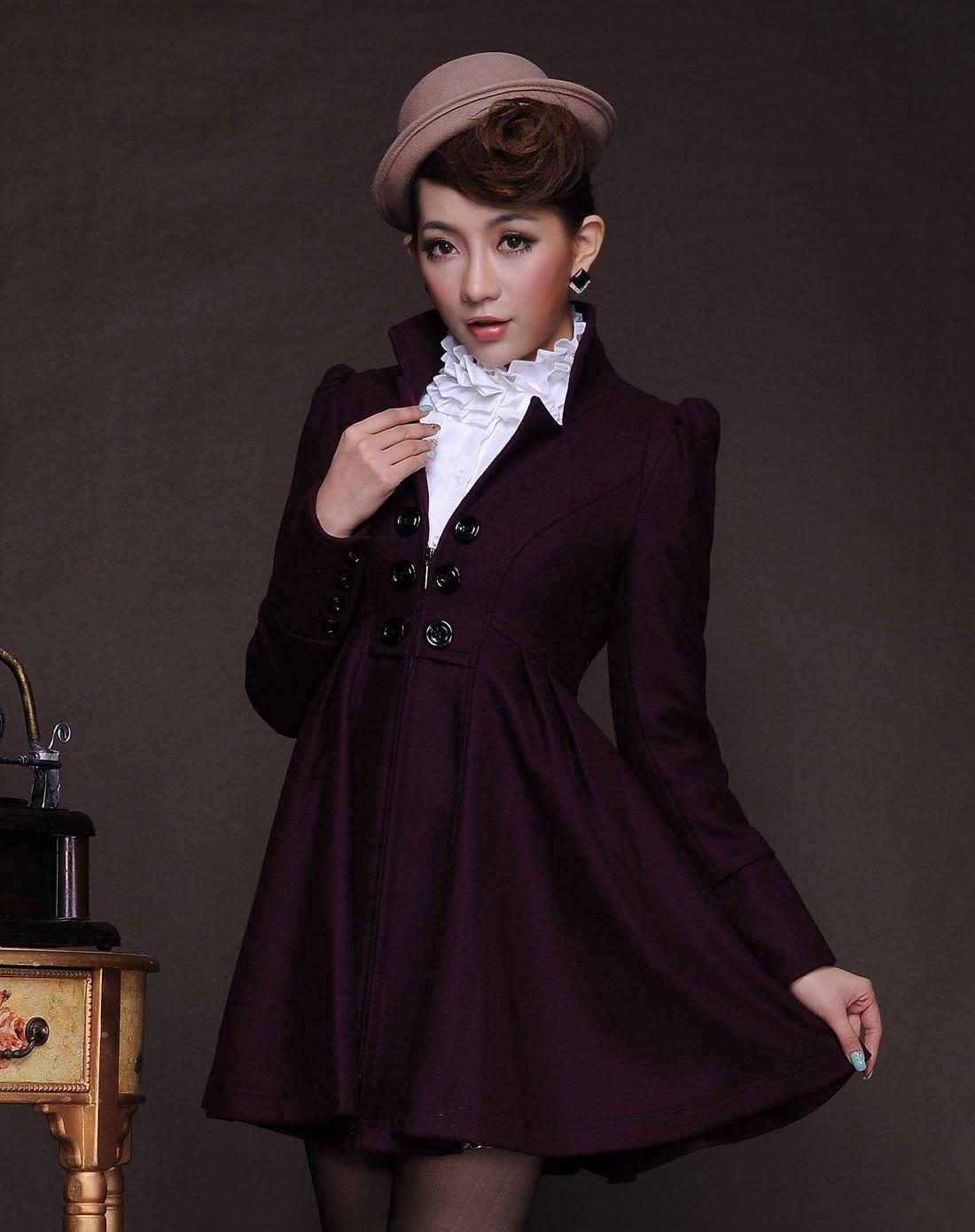 贝茜bessie女装专场女款枣红时尚立领羊绒大衣