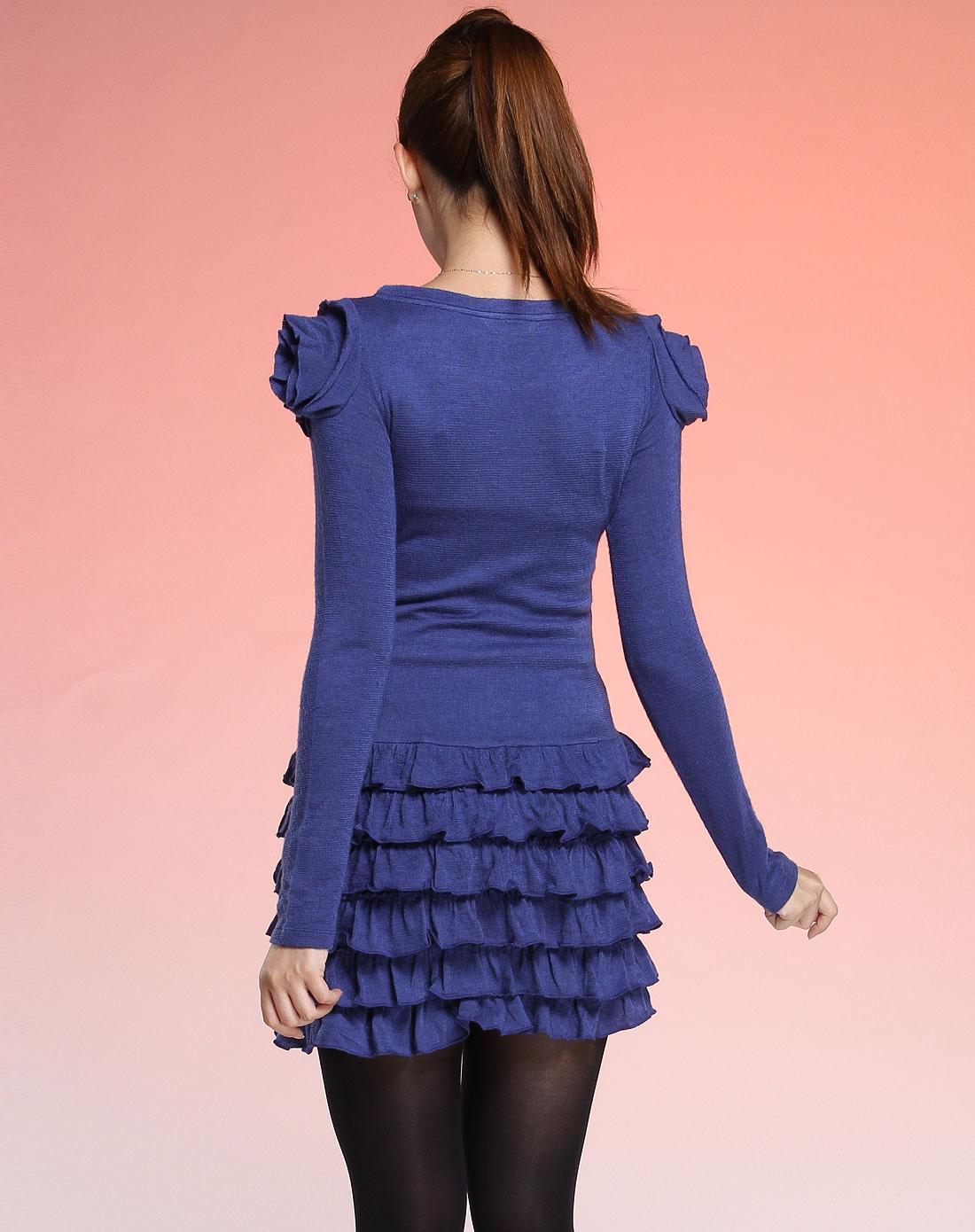 深蓝色圆领长袖可爱风格连衣裙