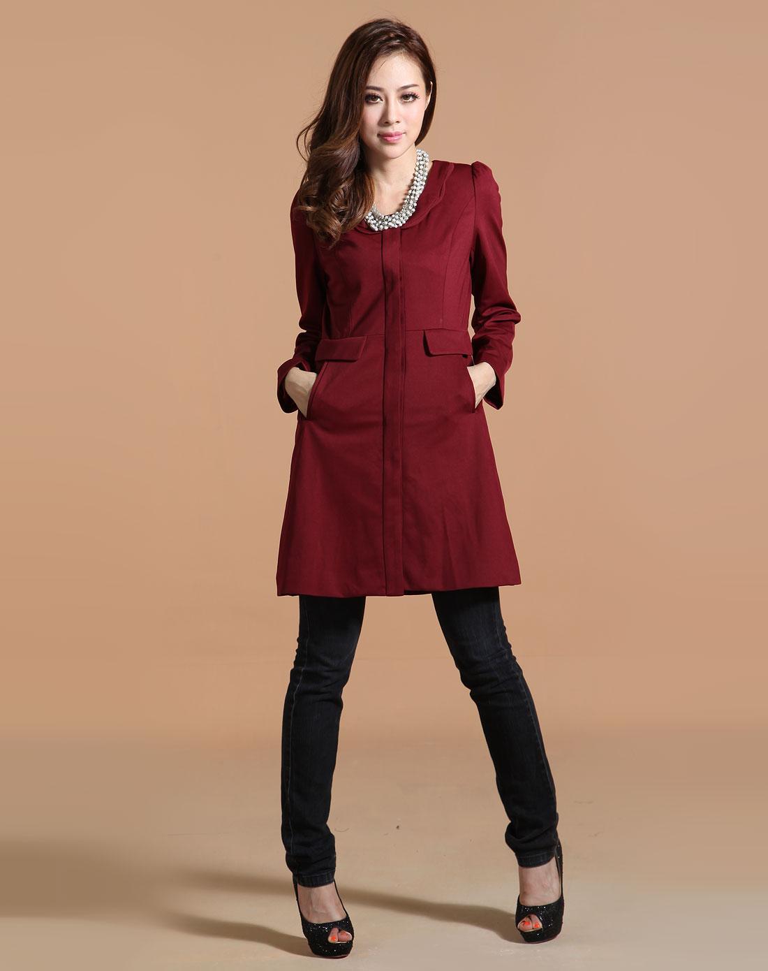 酒红色时尚长袖外套