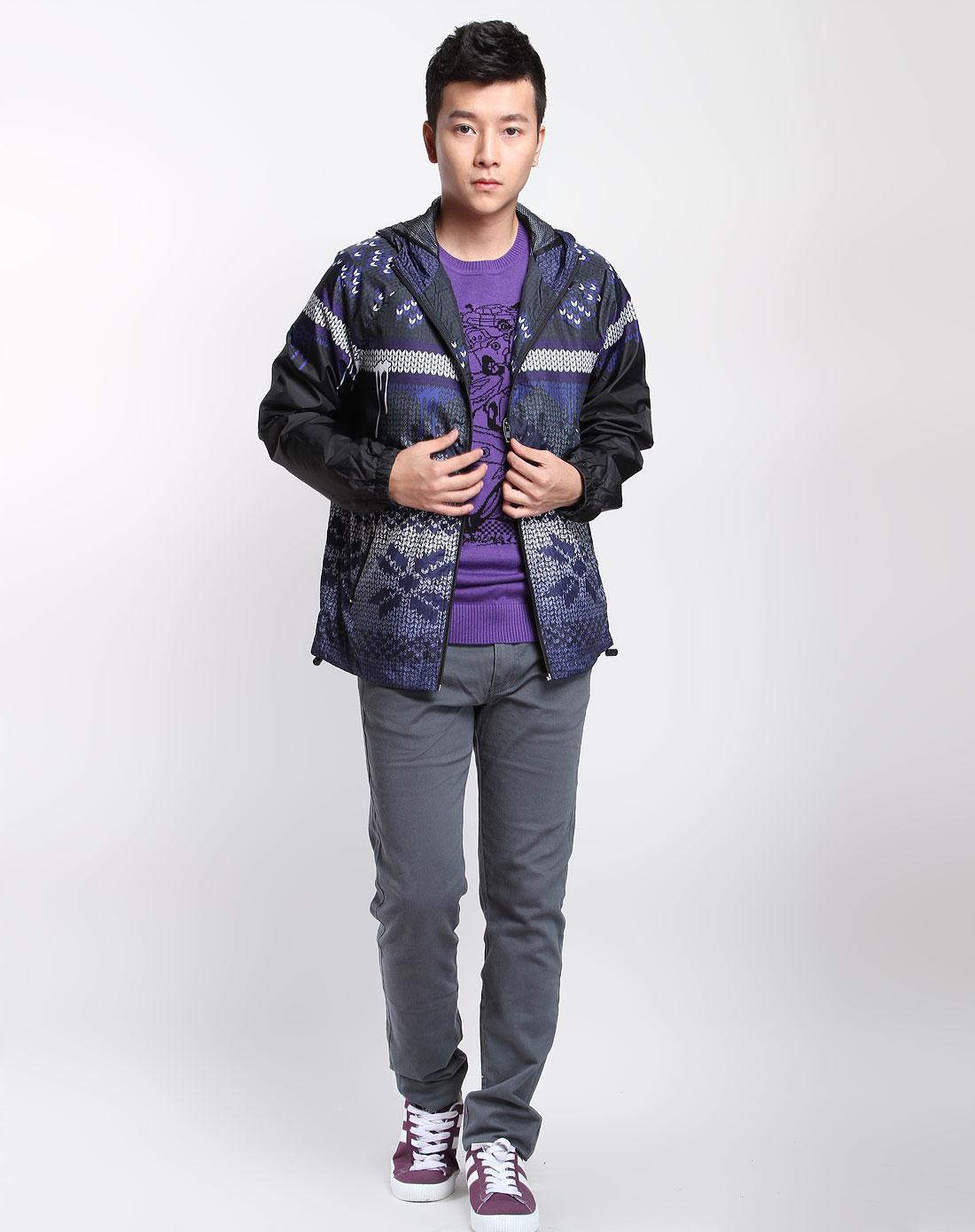 森马男装专场紫色混色民族纹样连帽长袖外套图片