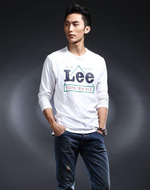 lee男装专场白色烫字休闲长袖t恤