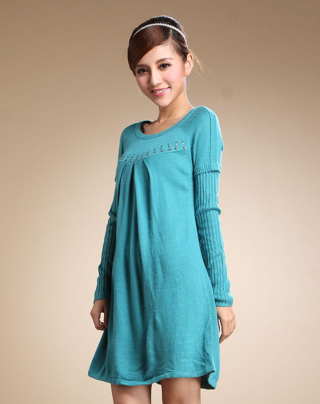 我爱露露lulualways蓝绿色休闲简约长袖针织连衣裙