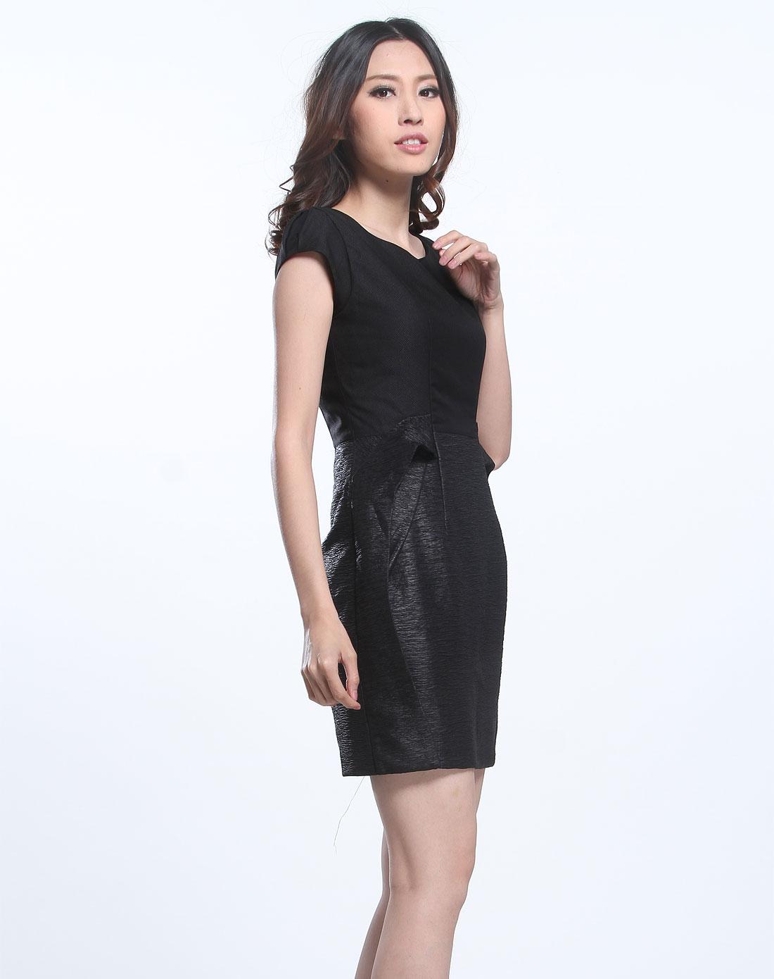 傲丝度isayido女装专场-黑色高贵气质短袖连衣裙