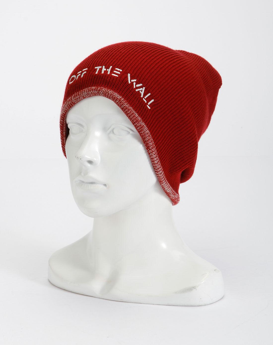 万斯vans男款红色简约绣字针织帽子vn-0ogp1th
