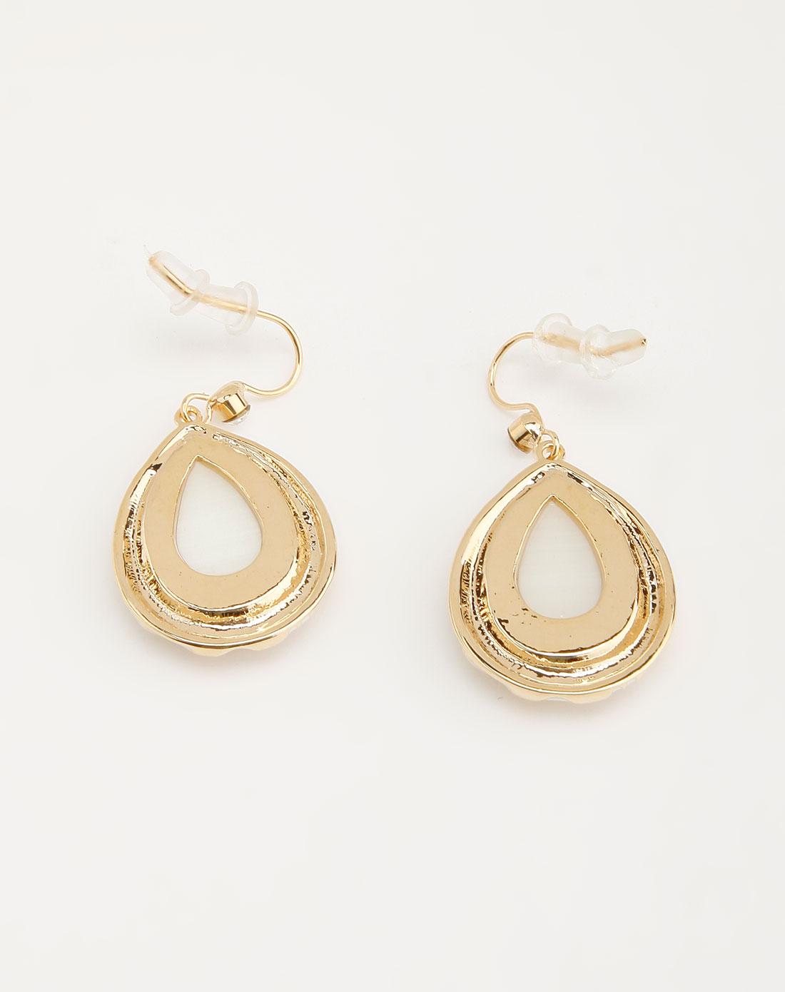 simida金色水滴形状高贵耳环