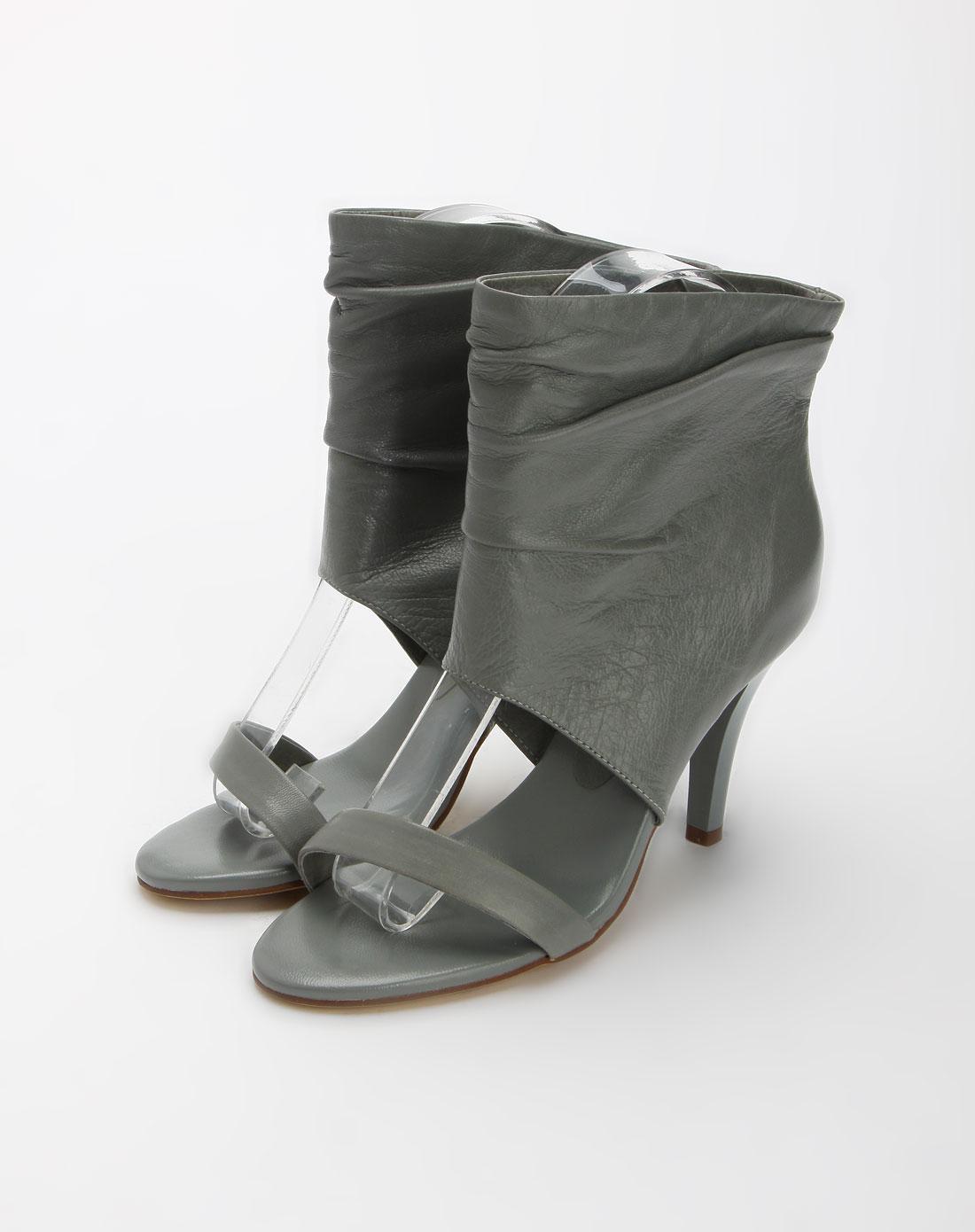 灰色高帮高跟凉鞋_迪欧妮帝盛dione