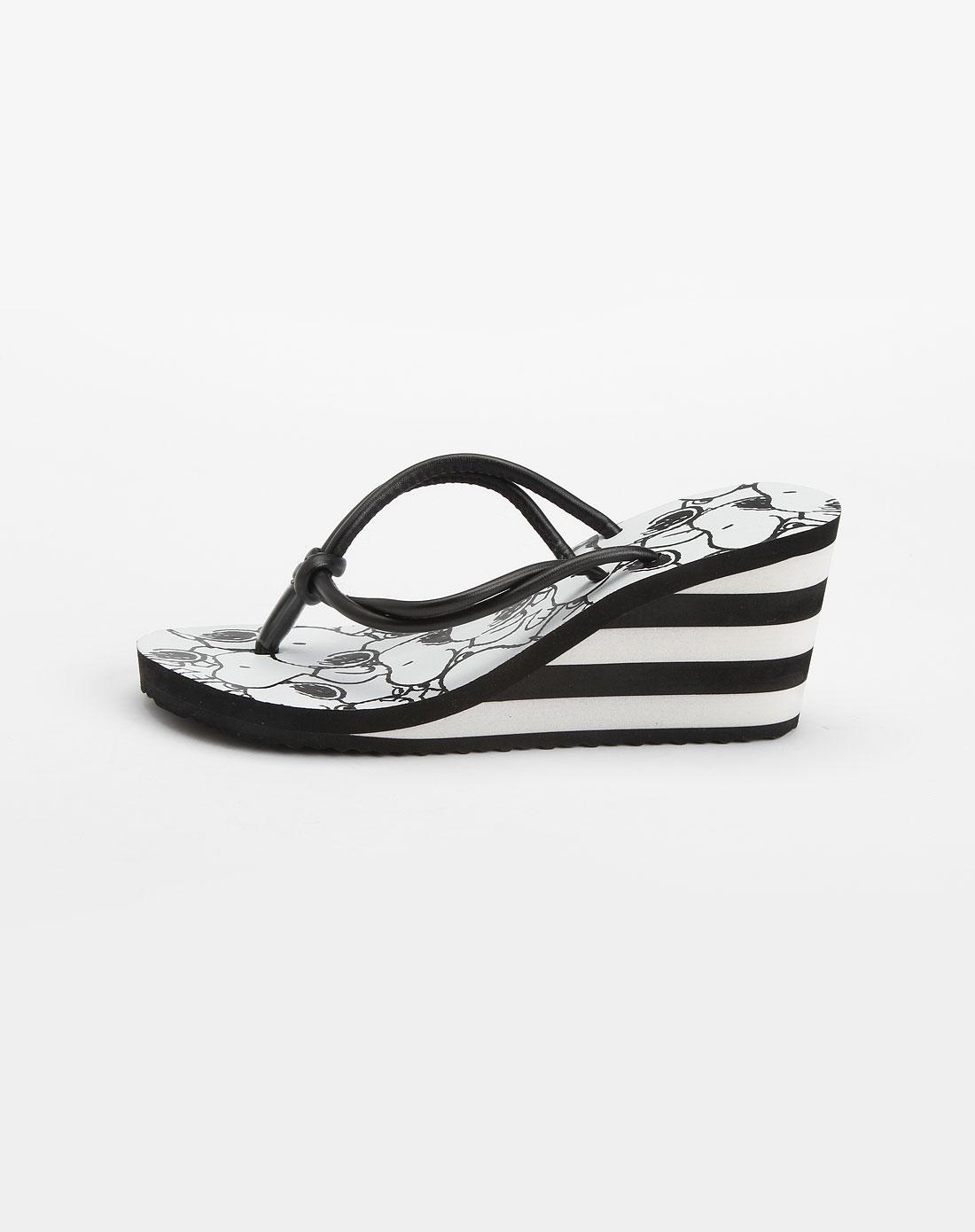女款黑/白色高跟人字拖鞋