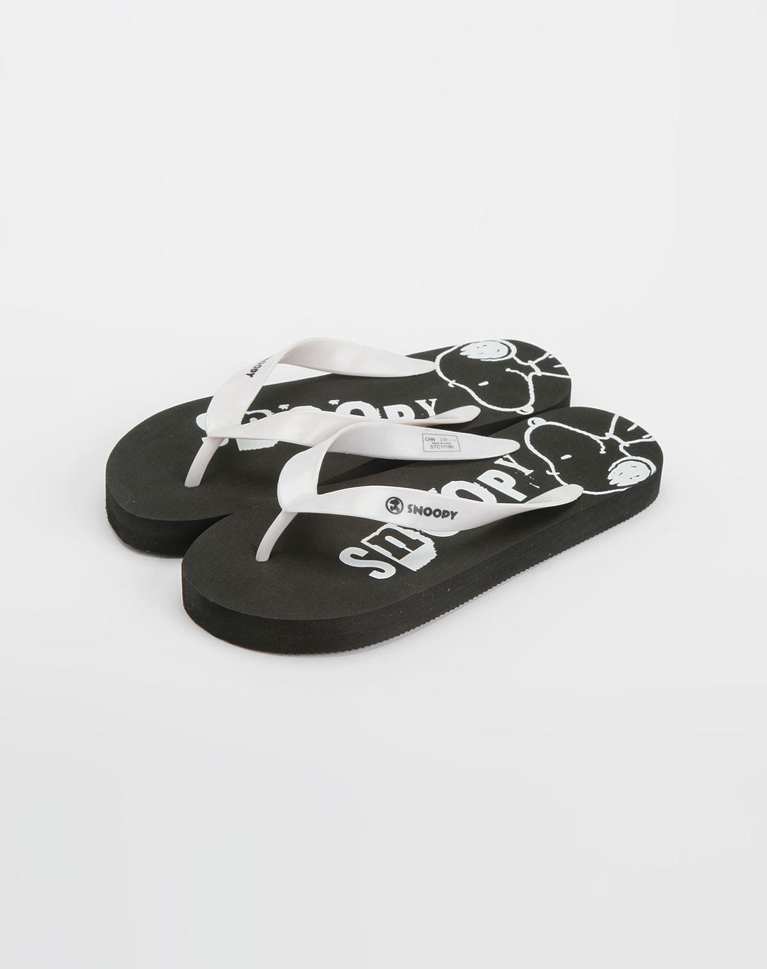 女款黑/白色人字拖鞋_史努比snoopy-女鞋官网特价2