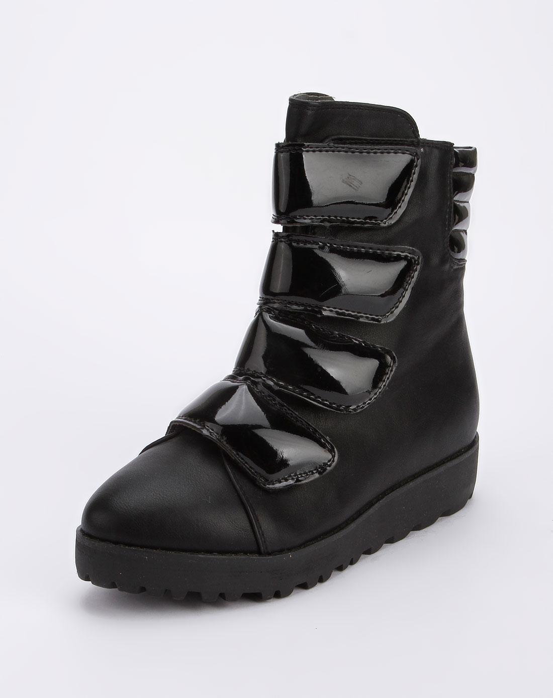 fasoli黑色侧拉链高帮休闲鞋s807-3-黑色