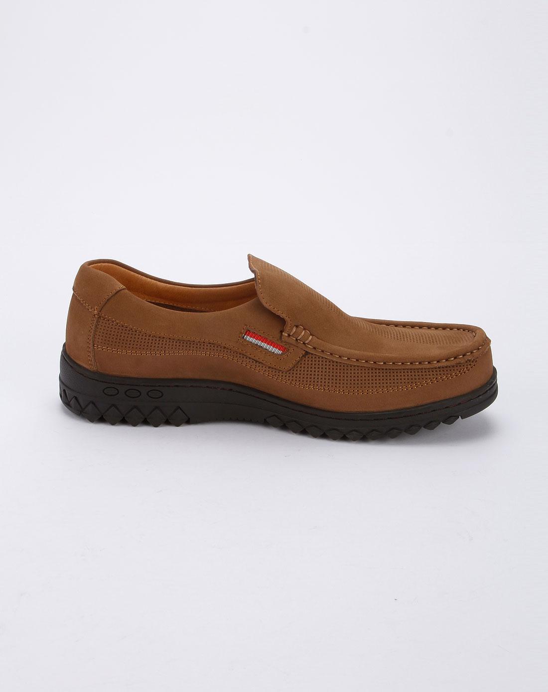 马内尔martniel男款卡其色时尚休闲皮鞋mb12281016