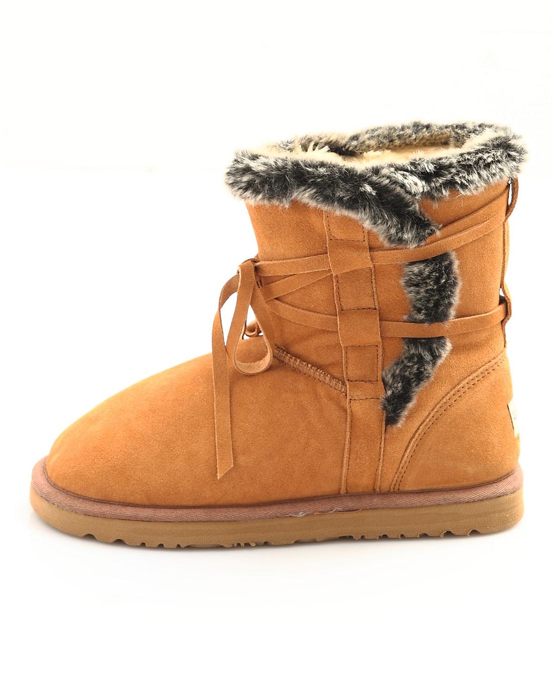 雪地靴扣子中筒