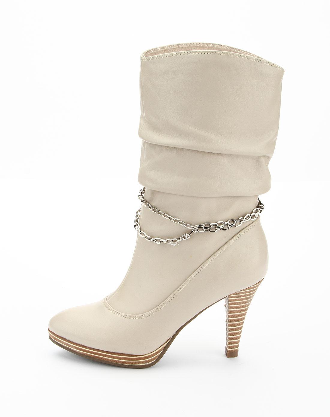 千百度c.banner女鞋专场-女款米白色时尚高跟短靴