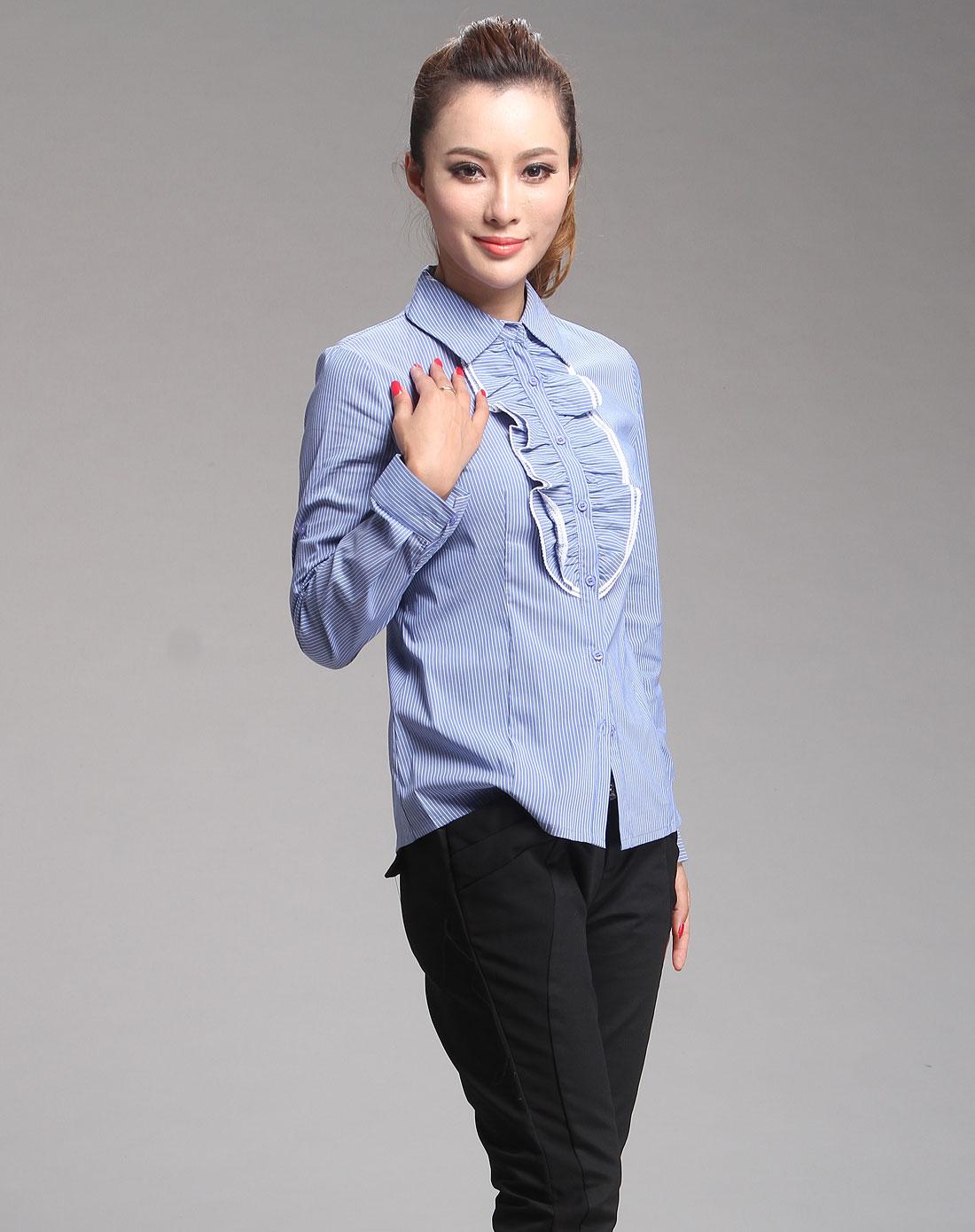 蓝色花边竖条纹时尚长袖衬衫