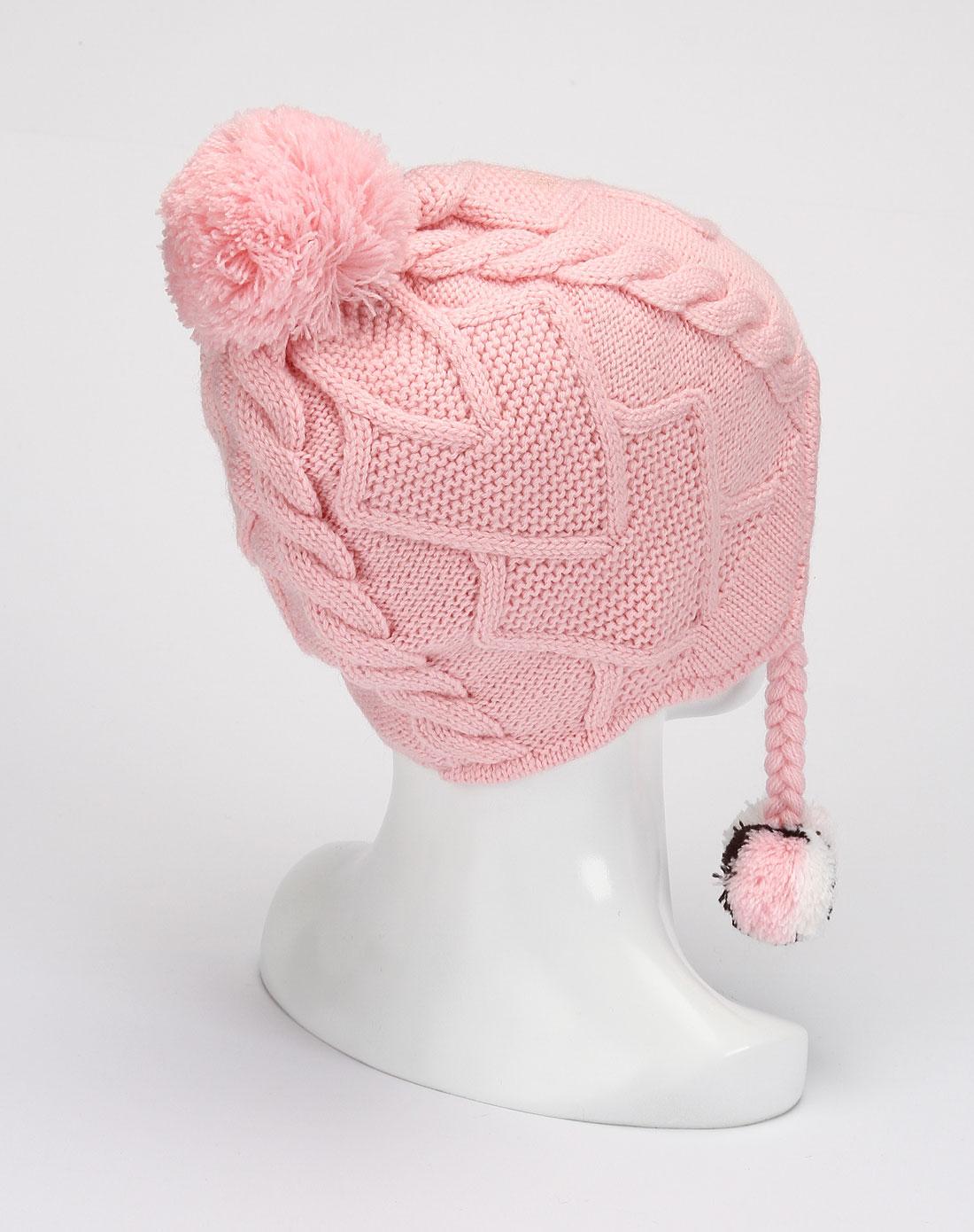 女童粉红色可爱毛线帽子