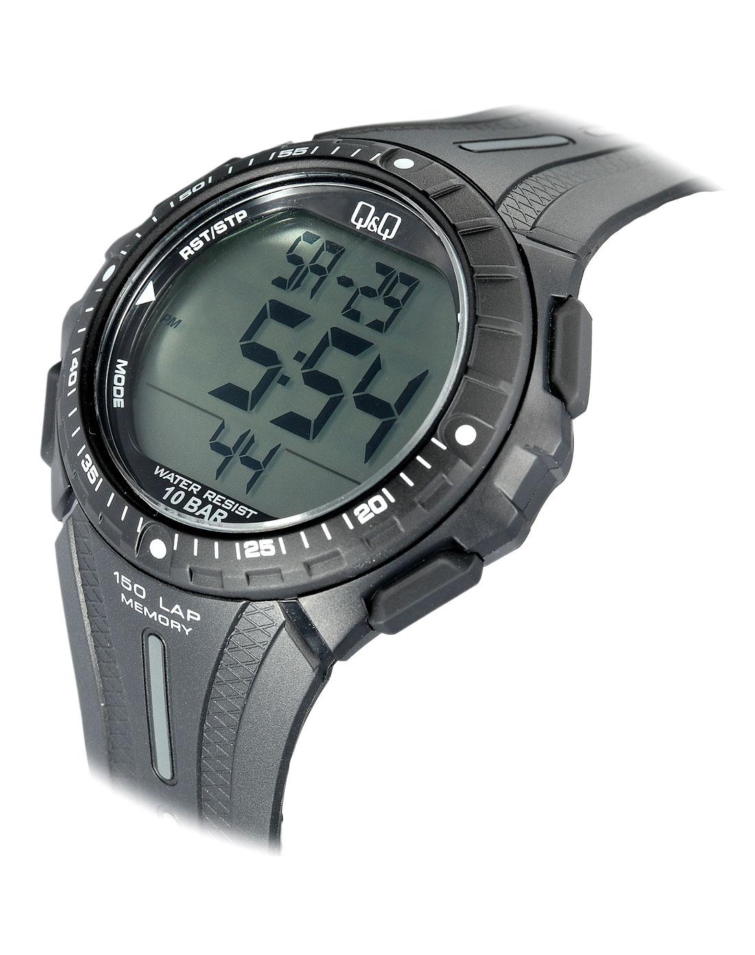 男款灰/黑色液晶表盘运动电子手表