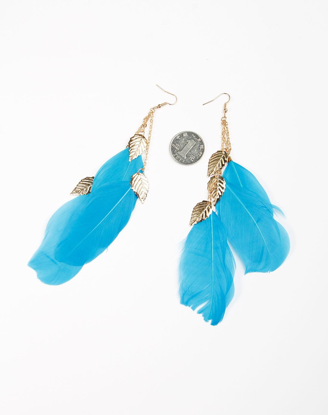 蓝/金色羽毛耳环