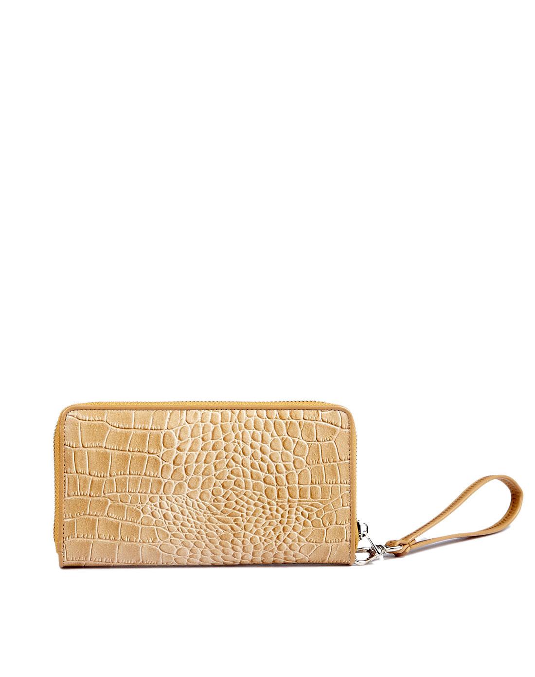 女款杏黄色时尚风琴钱包