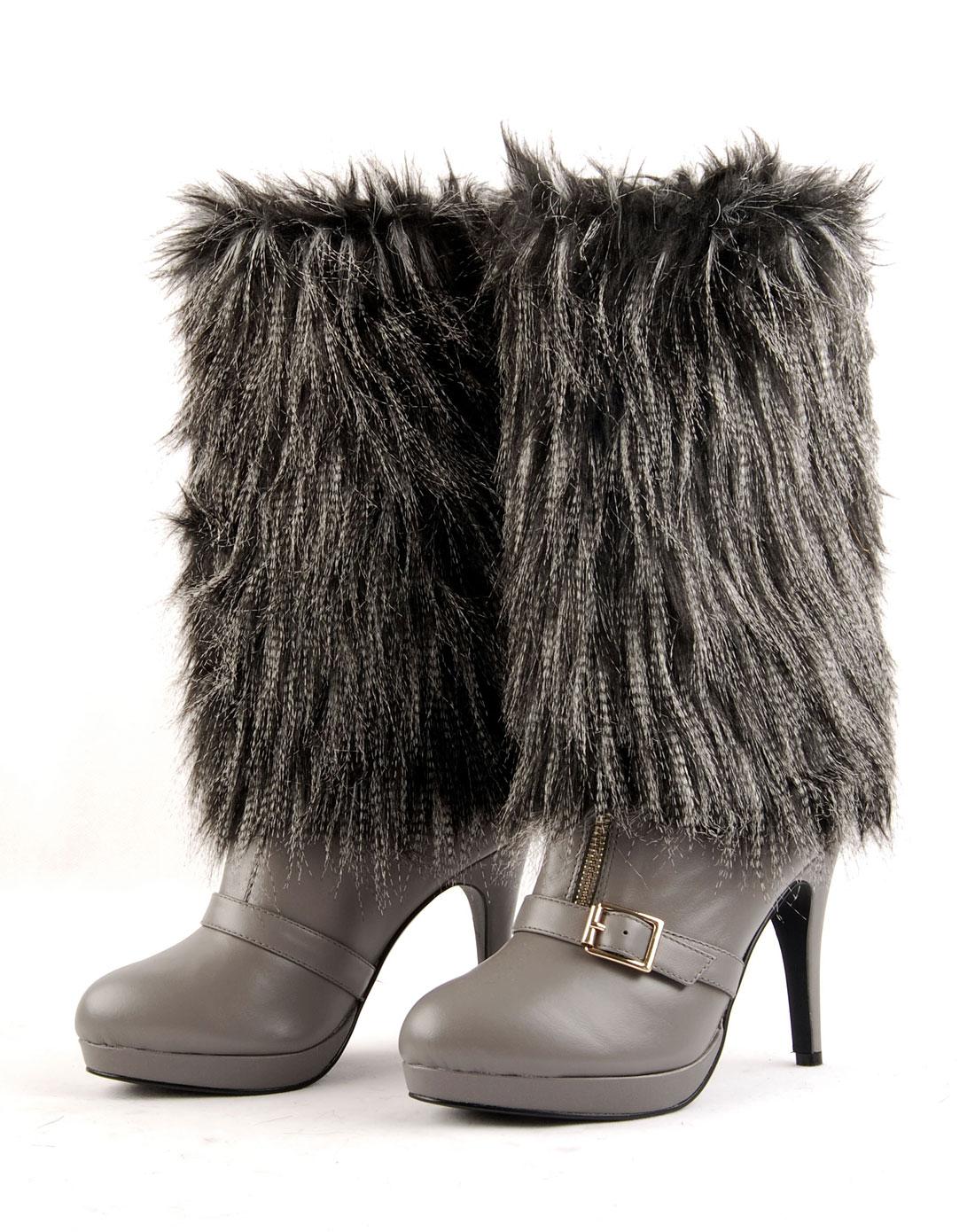 女款黑白色雅典娜中桶超暖靴套