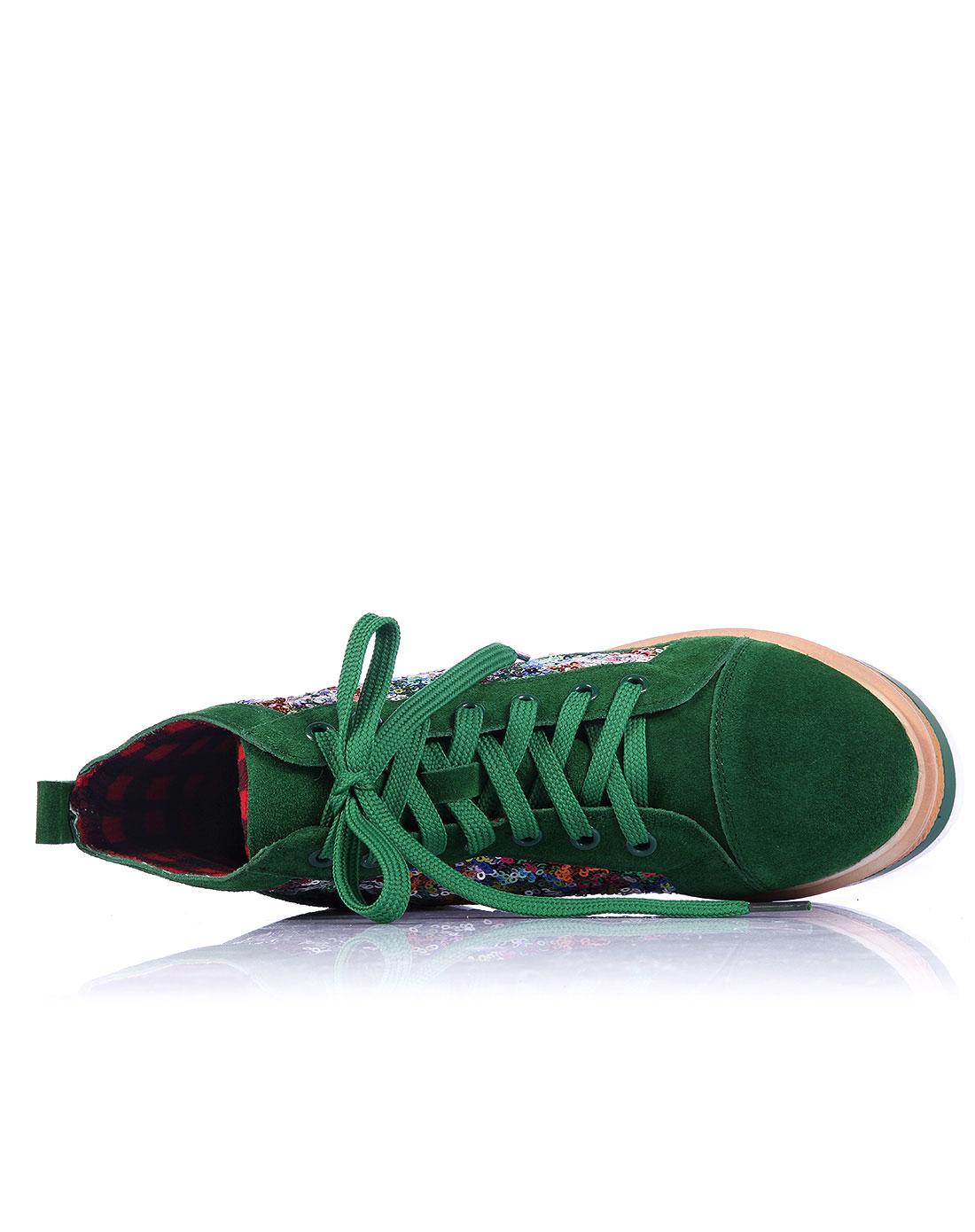女款绿色休闲系带亮片松糕鞋平跟高帮女鞋