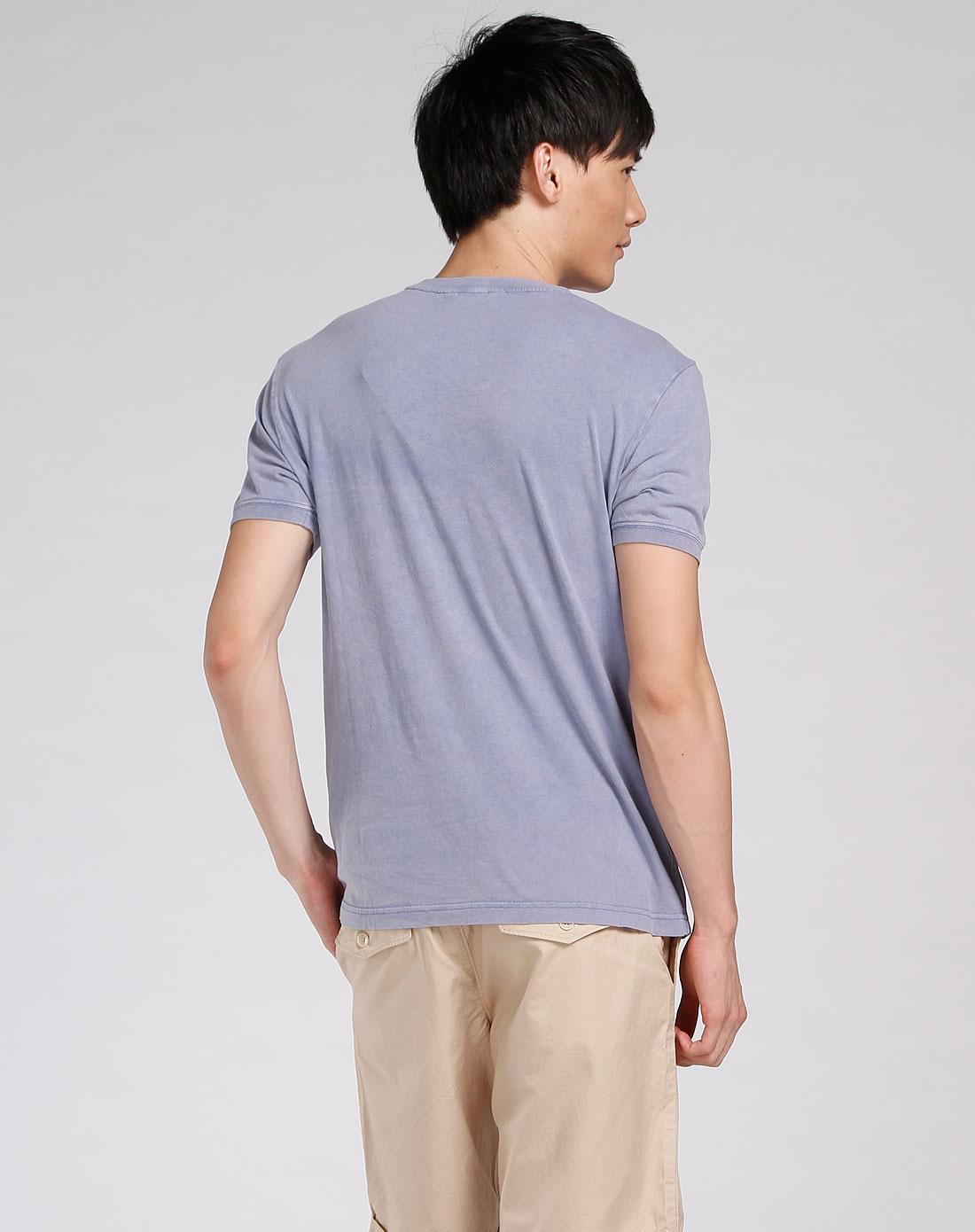asobio-男士专场灰紫色圆领短袖t恤