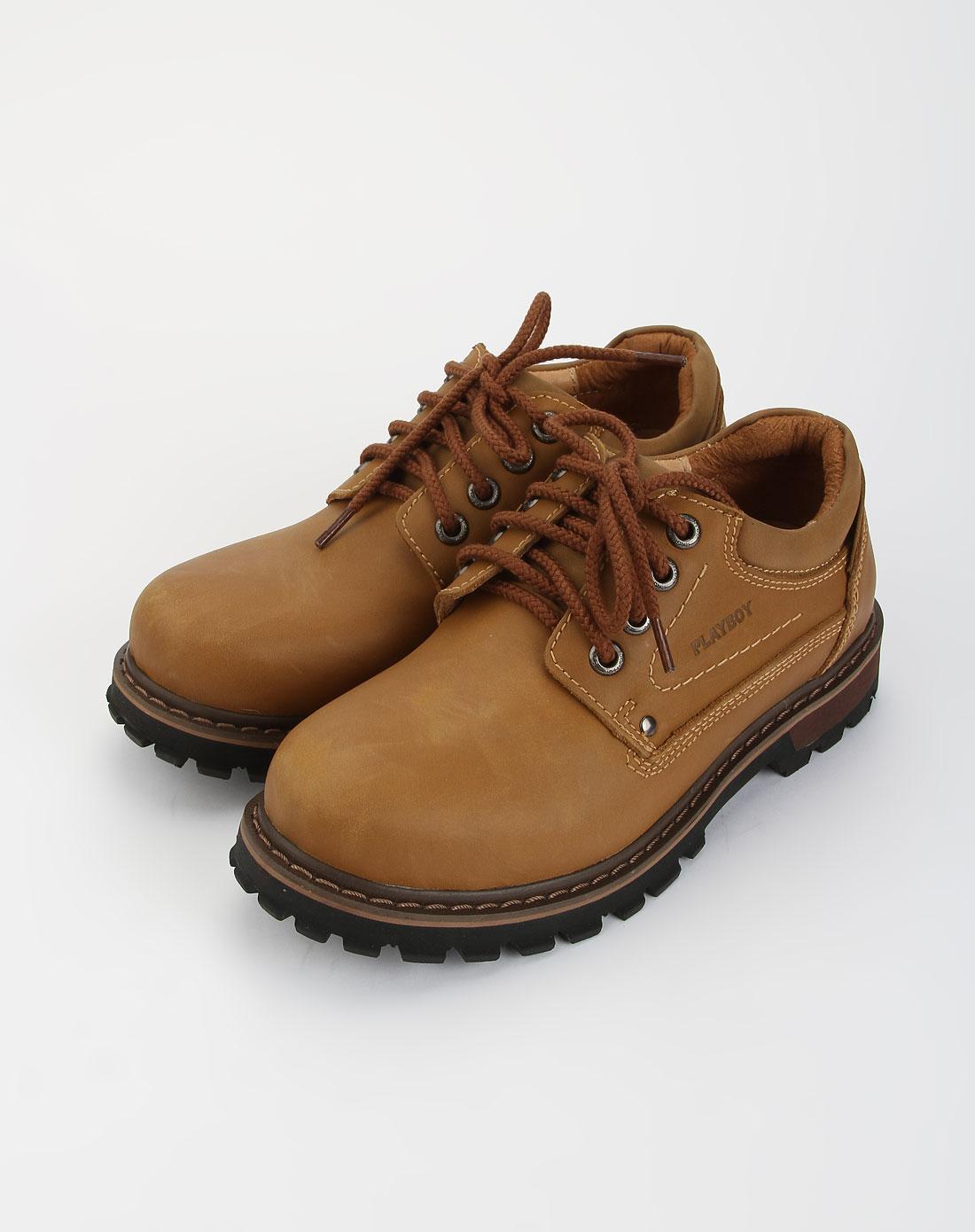 花花公子playboy浅棕色户外皮鞋848455