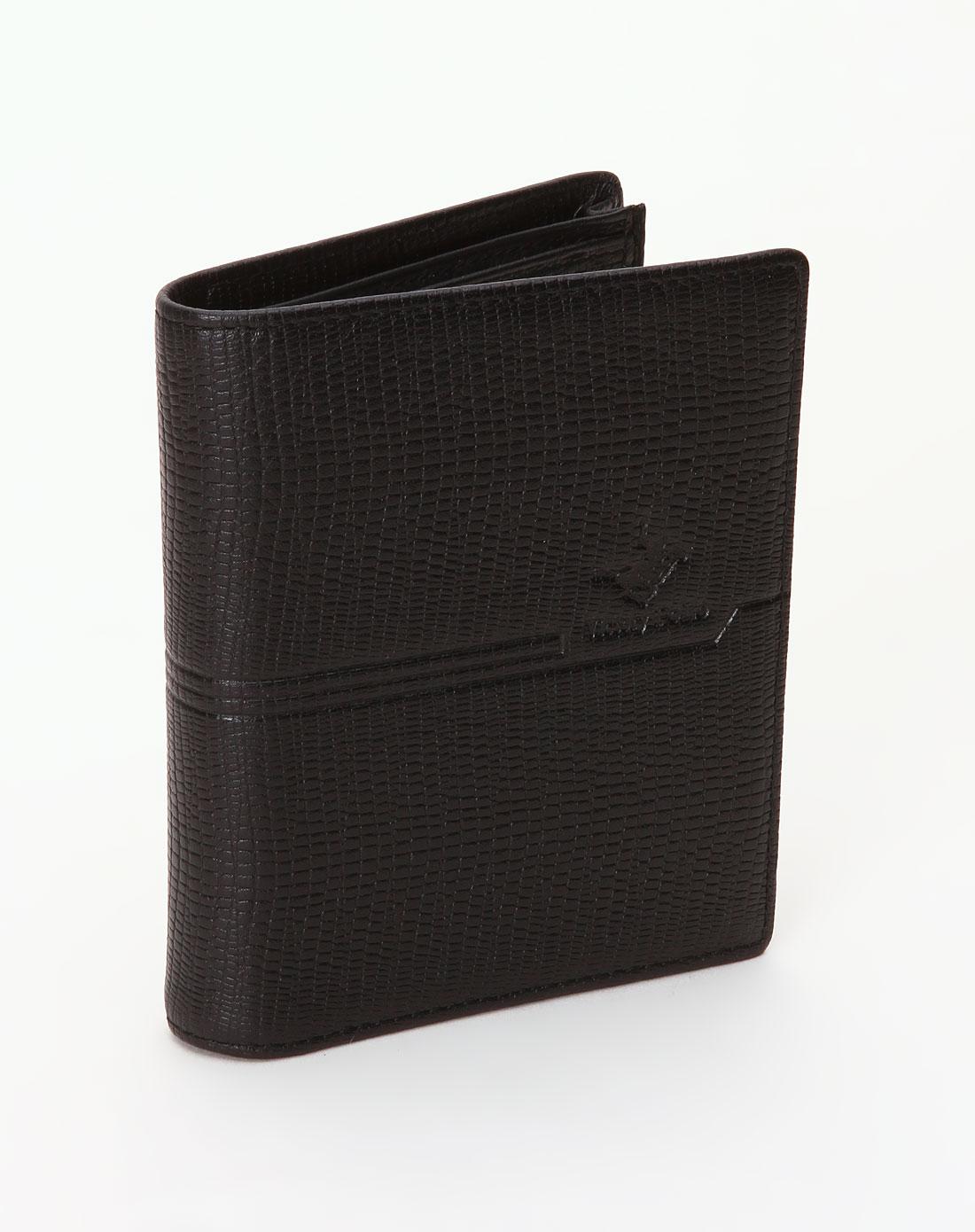 维多利保罗victory polo-男士黑色个性印纹钱包
