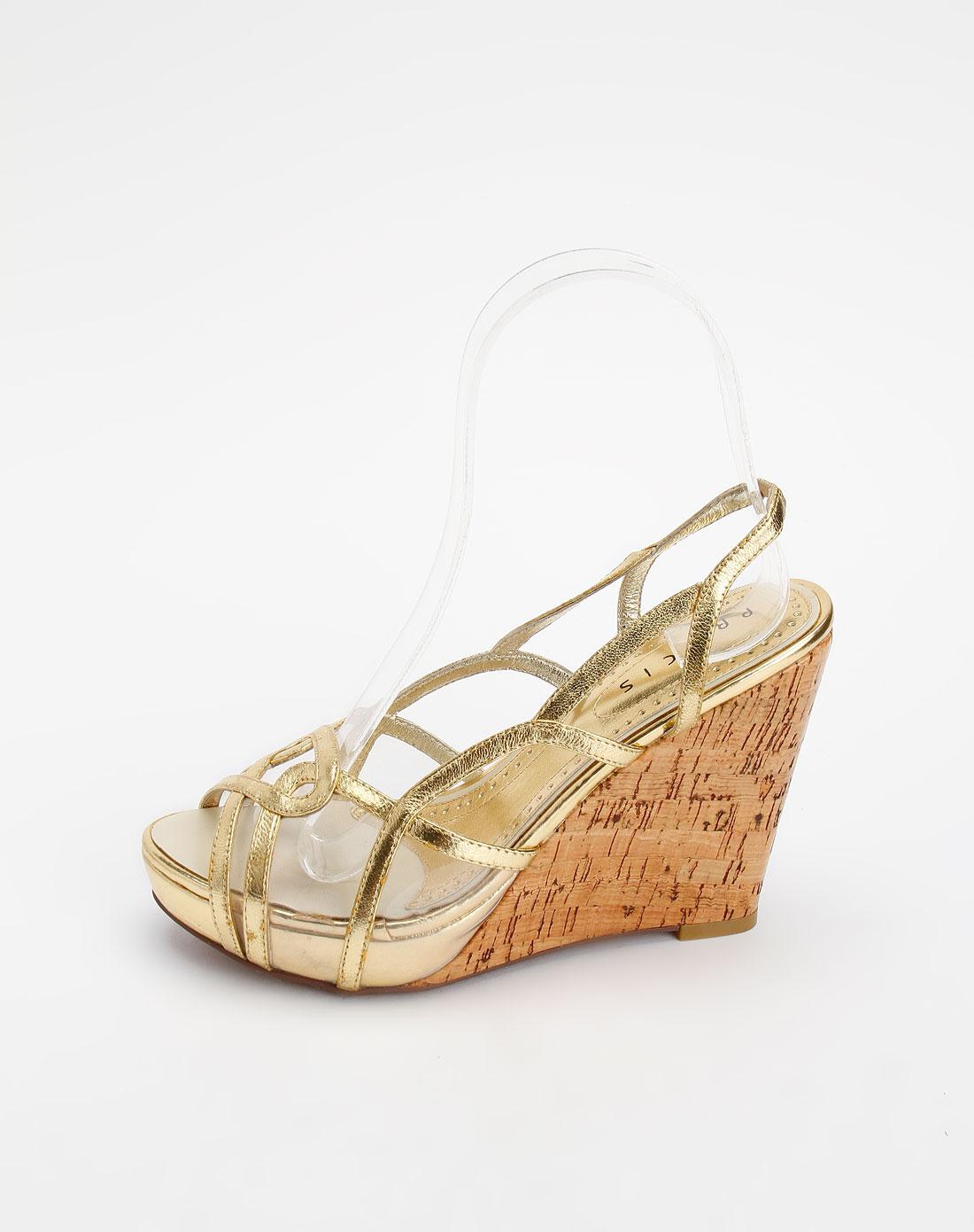 金色裂纹时尚坡跟凉鞋