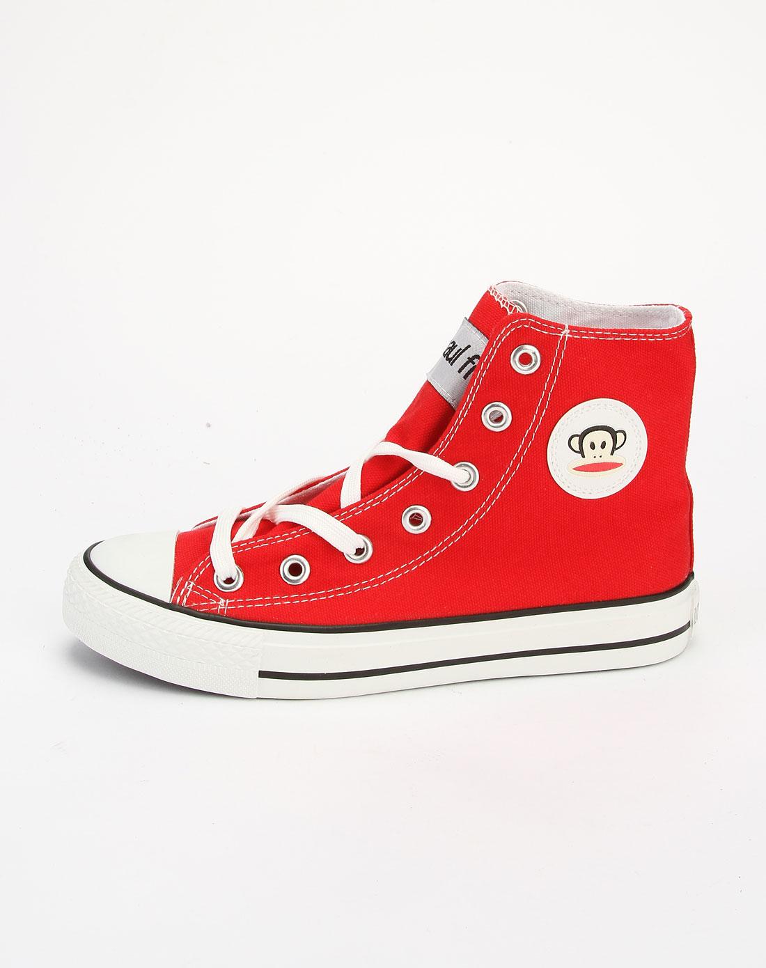 红色高帮时尚帆布鞋