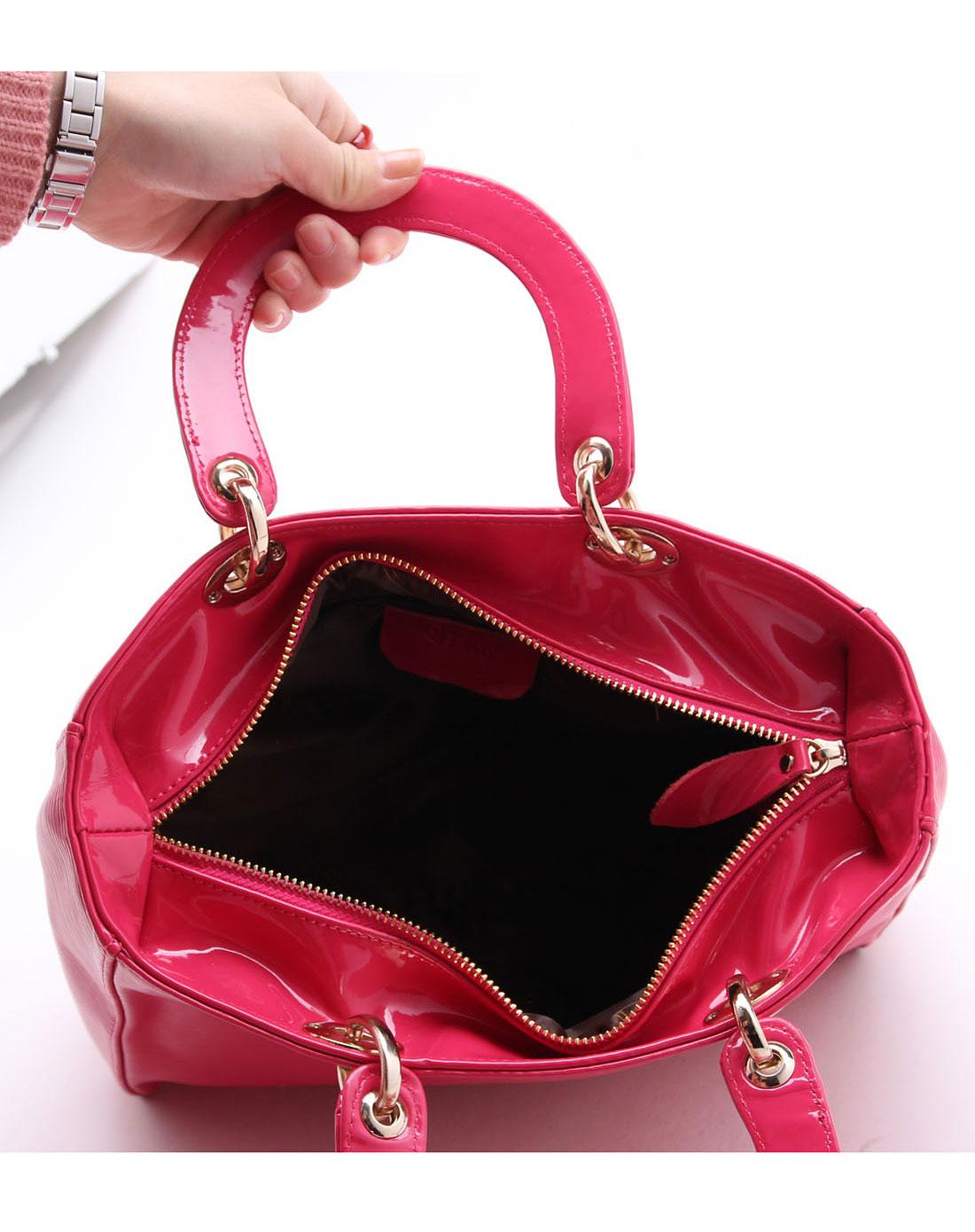 spade简约玫红色手提包q1520
