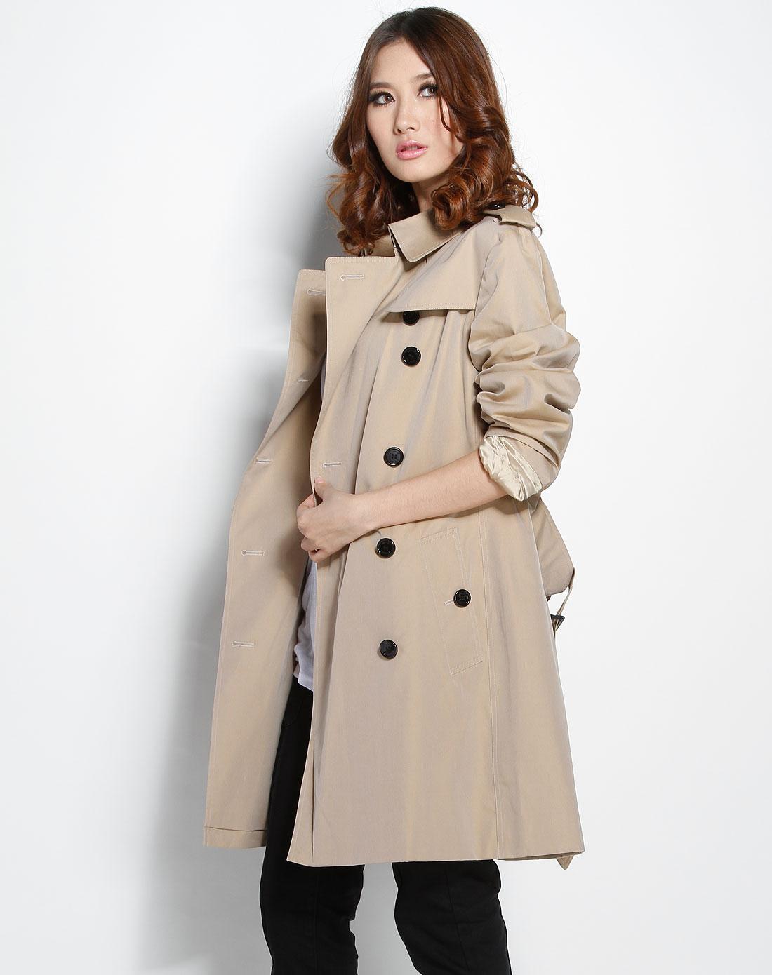 burberry外套专场女款浅卡其色经典长袖风衣1by99001