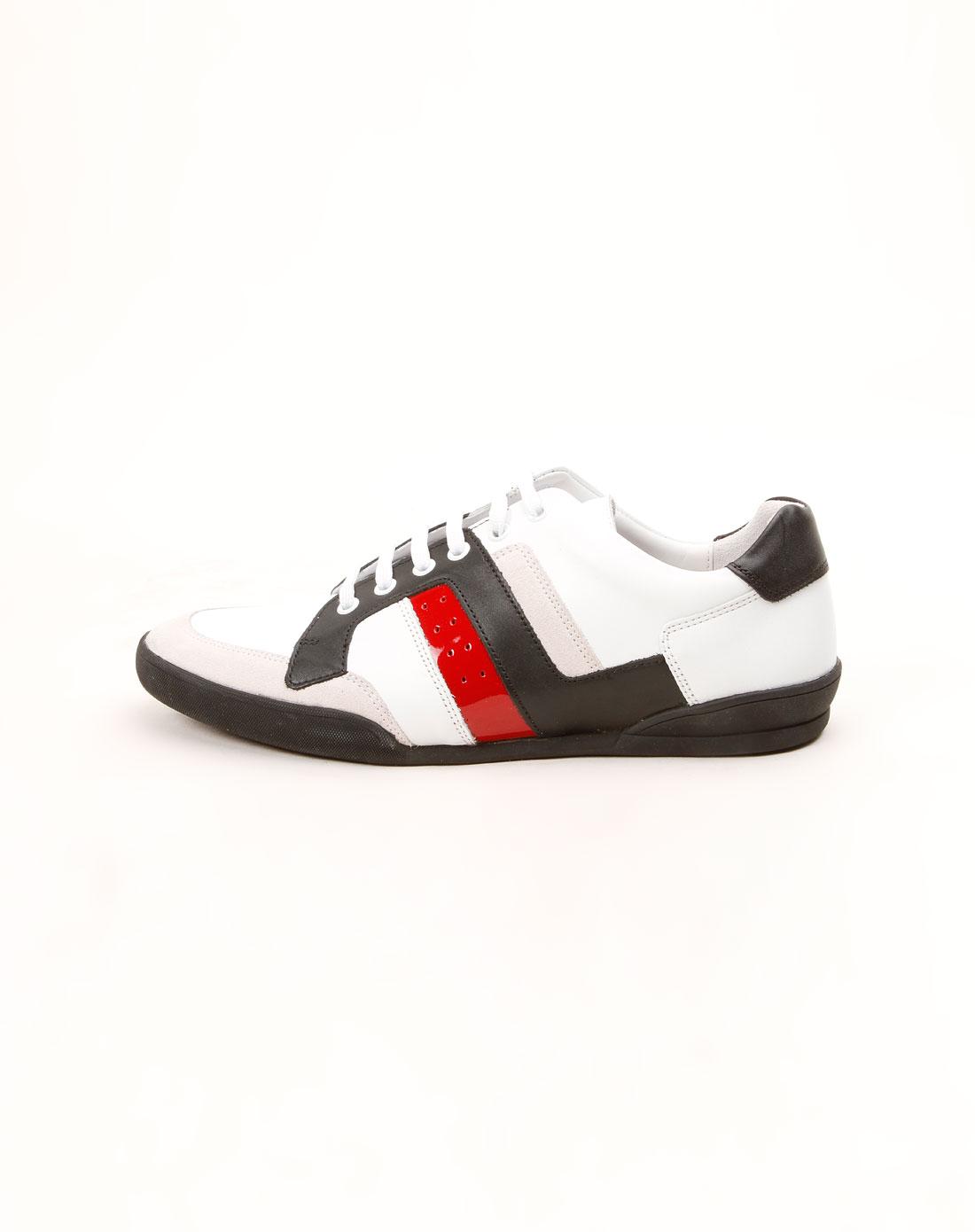 男款白色系带时尚皮鞋