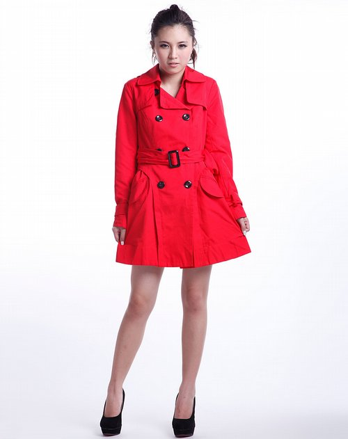深红色时尚长袖风衣外套