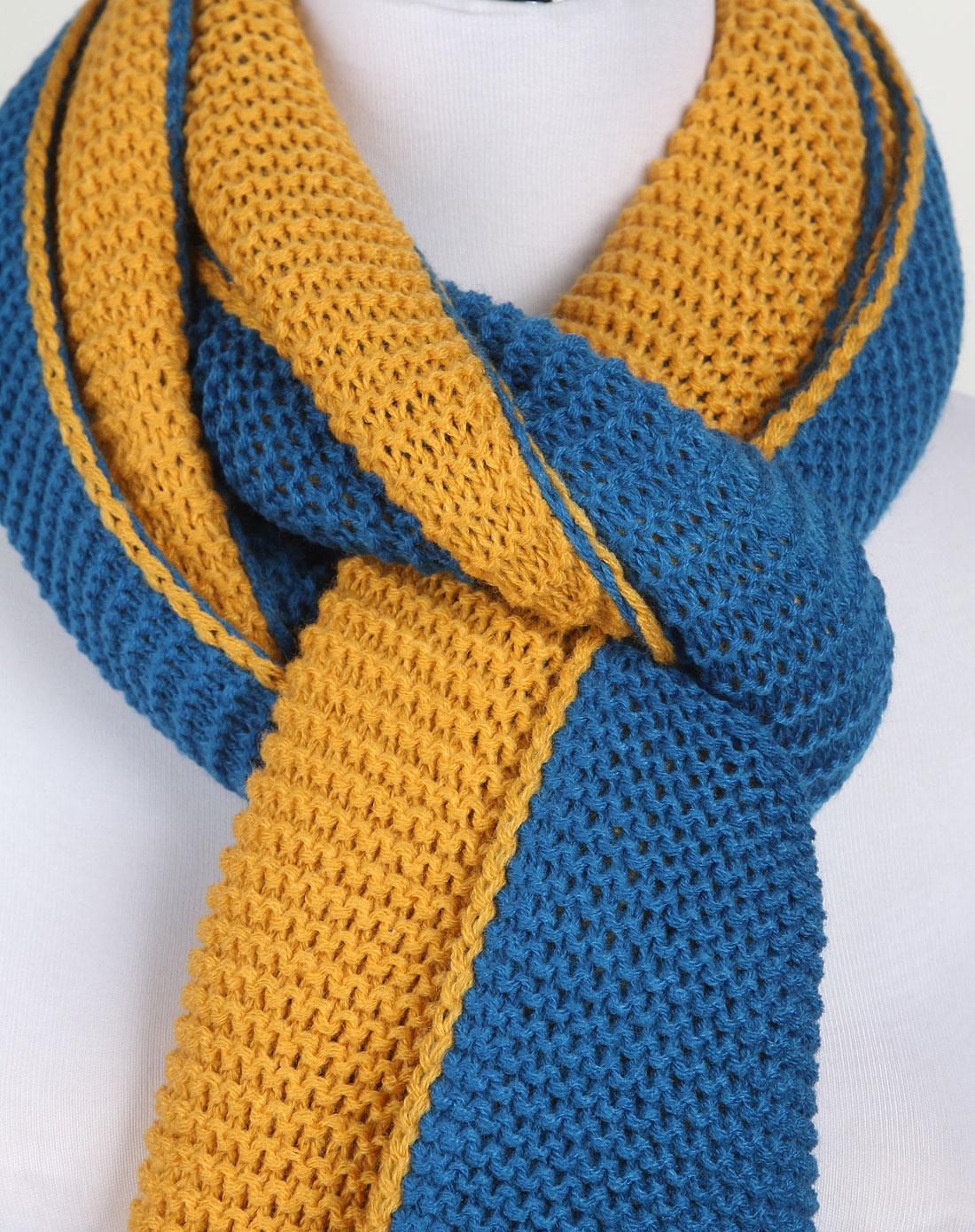 蓝橙色经典编织围巾