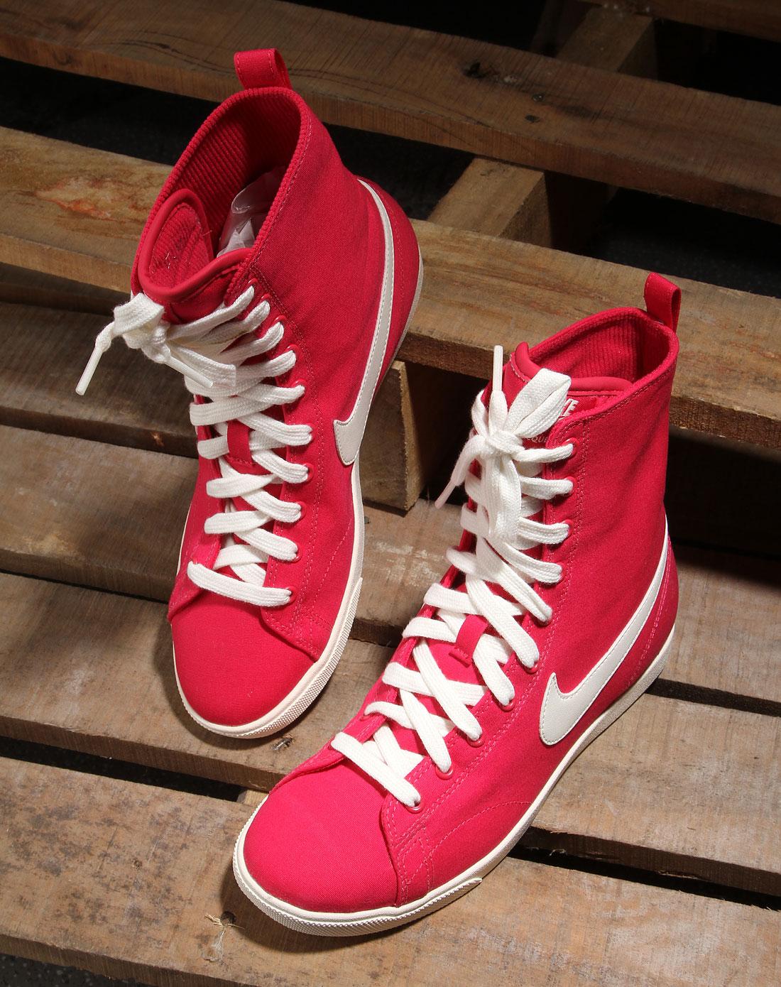耐克nike男女装女款玫红色简约高帮帆布鞋454413-600