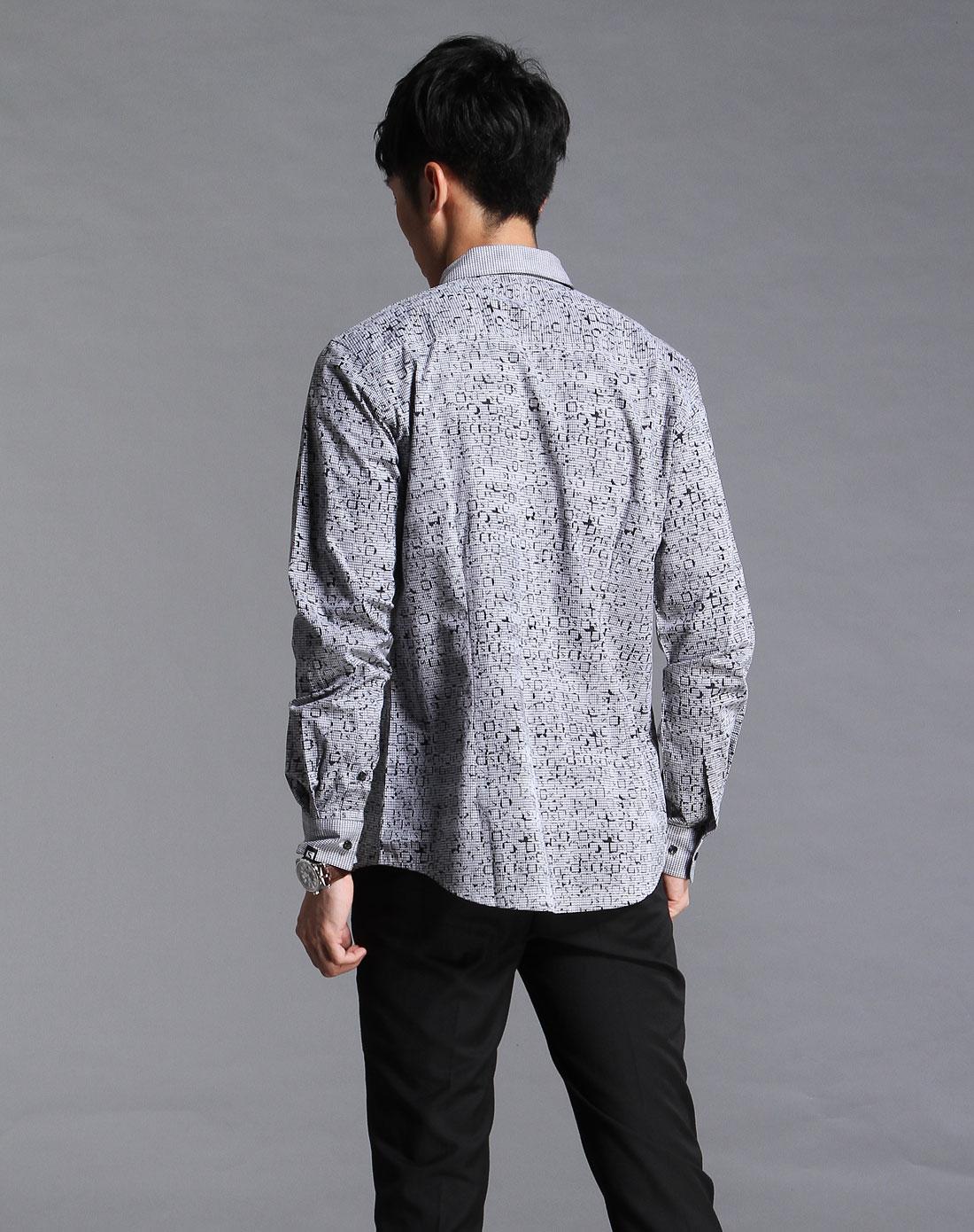 黑白色格子印花长袖休闲衬衫