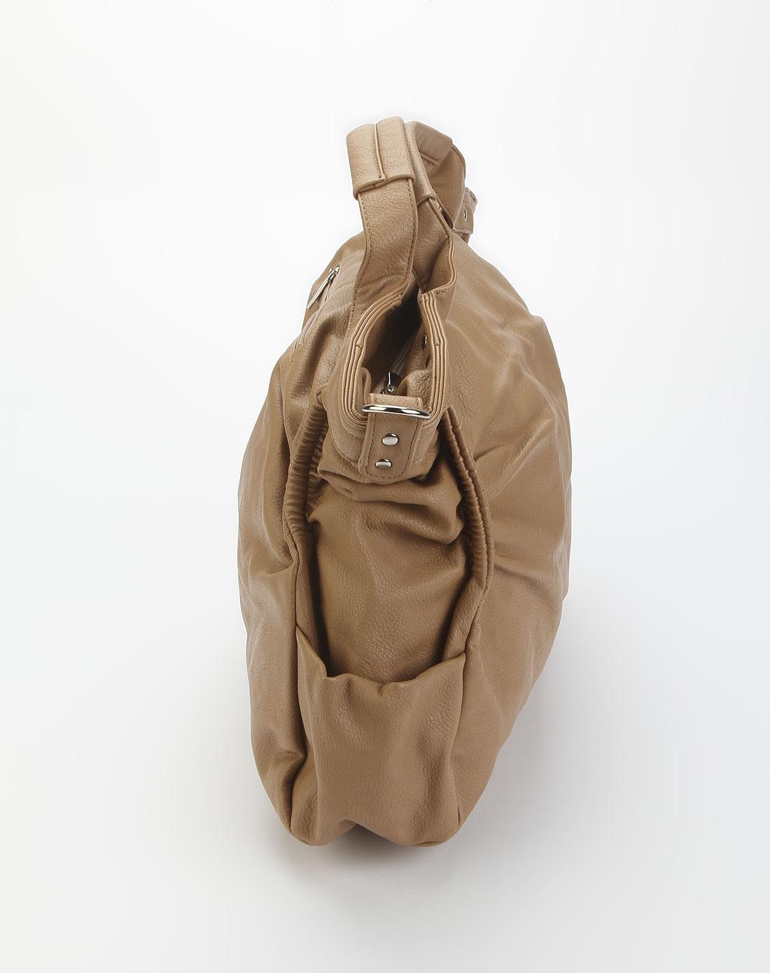 森马卡其色时尚仿皮单肩包1253