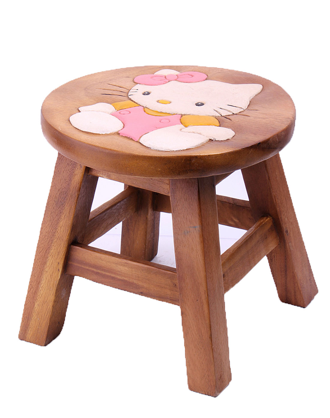 泰国柚手工制作家居木凳-hello kitty